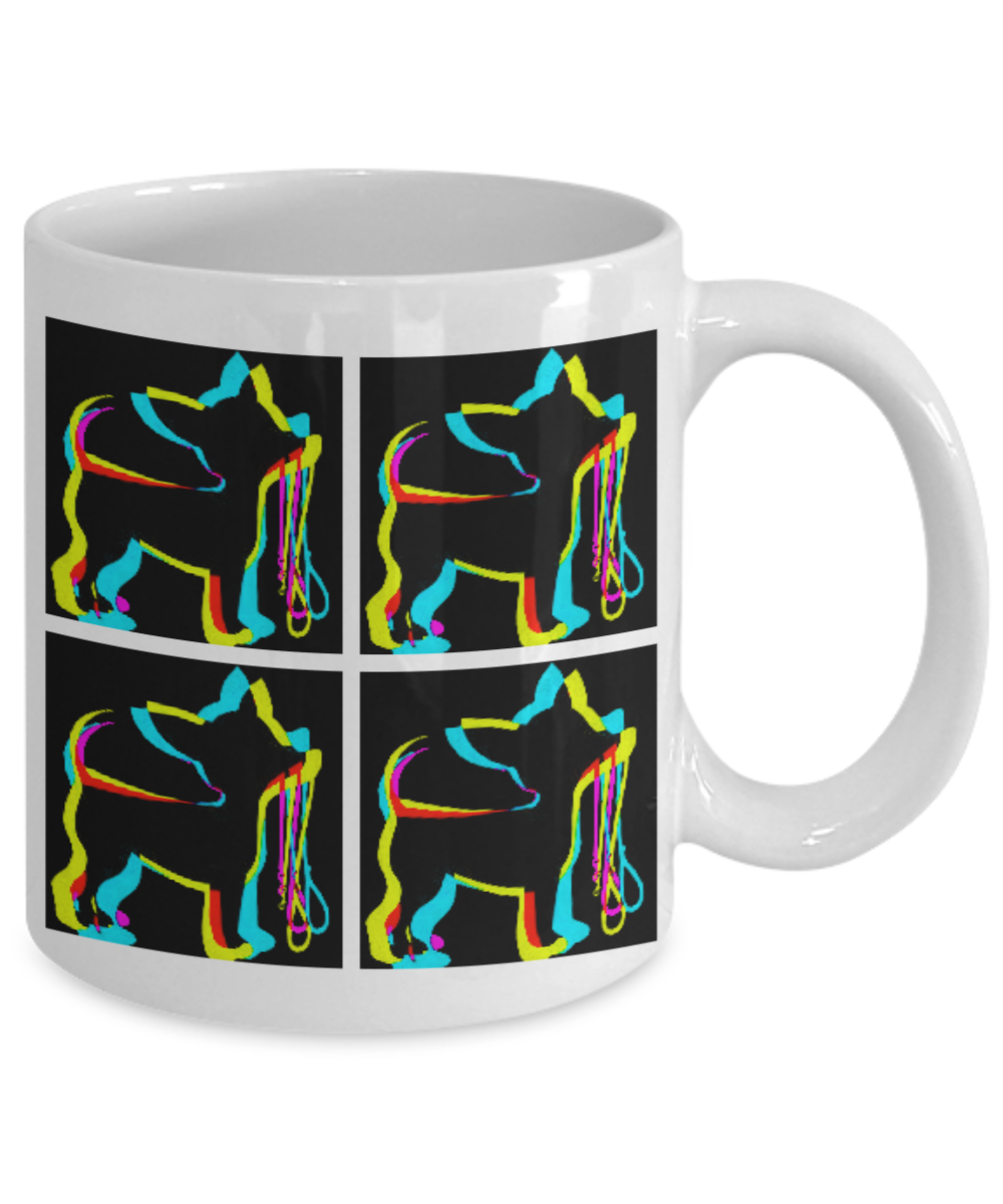 Details about  /Pop Art Chihuahua Holding Leash 11oz Coffee Cup Stylish Dog Gift