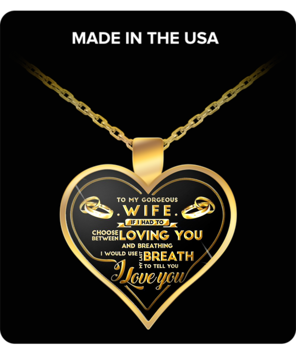 Wife Gifts To My Gorgeous Wife Gold Pendant Necklace Great