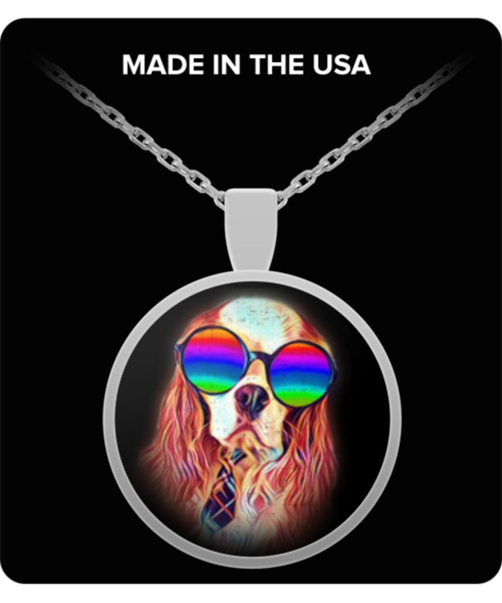 Cavalier King Charles Spaniel Necklace Charm Pendant Neon