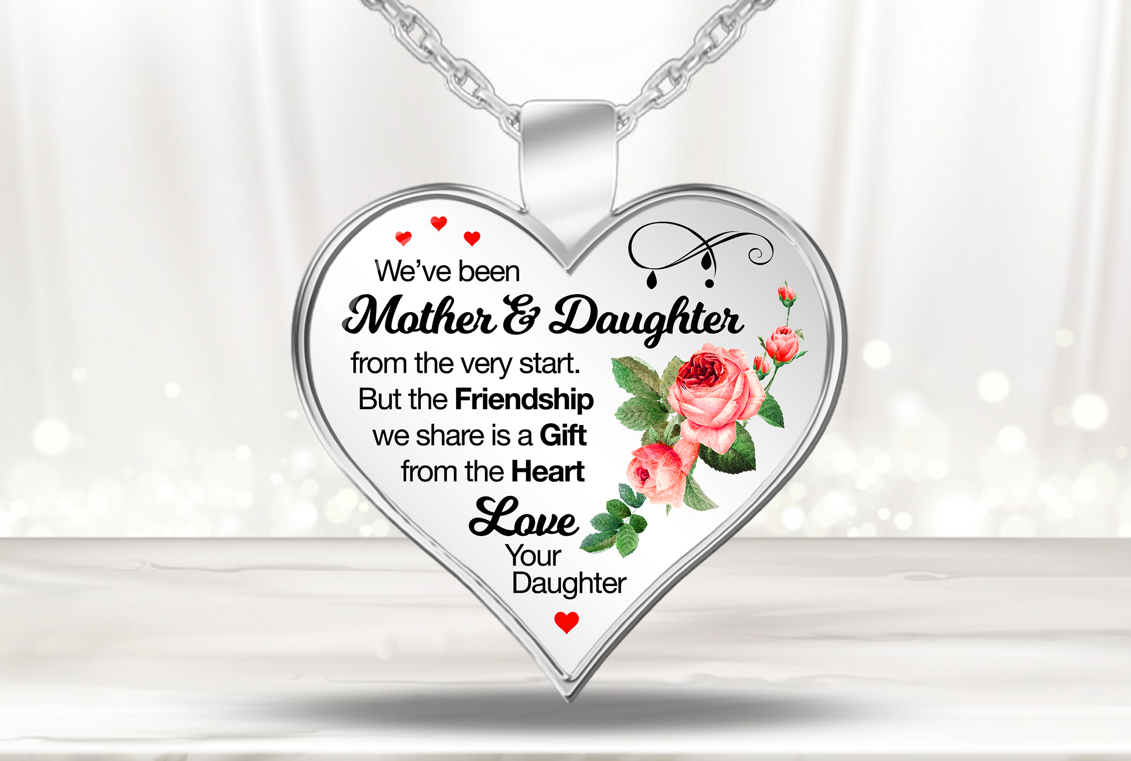 Mother Daughter necklace with Roses