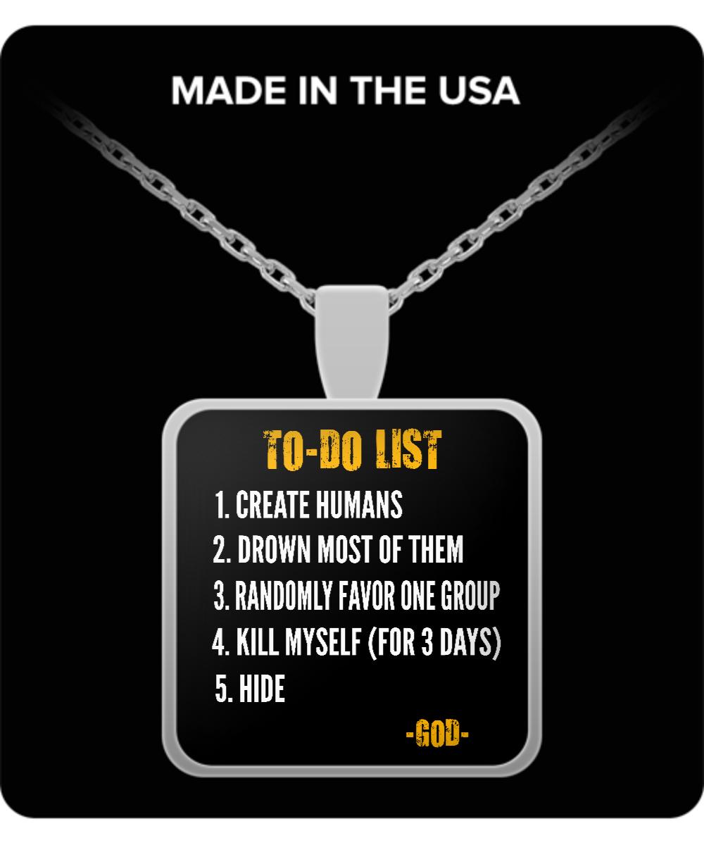 Atheist necklace atheist to do list atheism necklace front aloadofball Choice Image