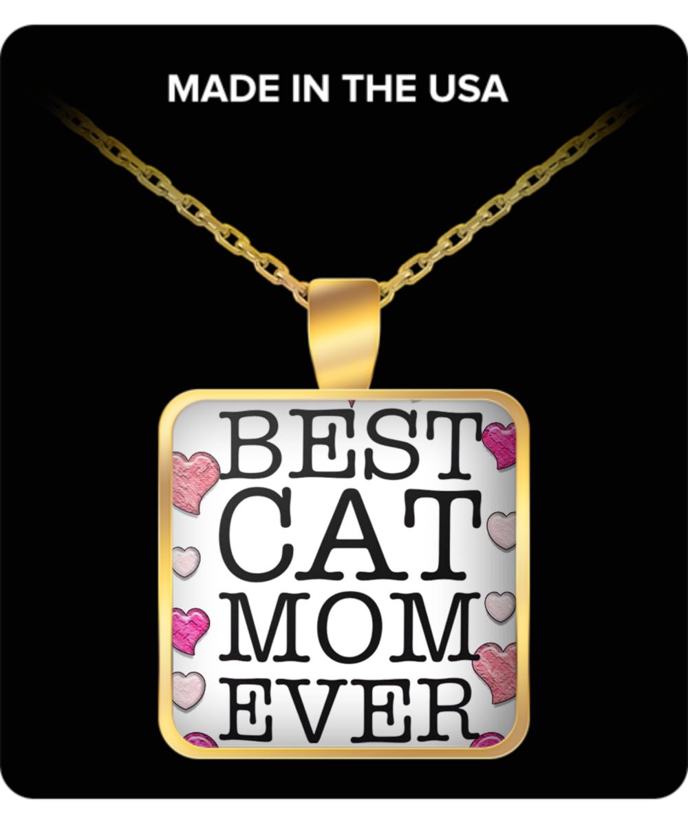 Asqunpin Best Cat Mom Bar Pendant Necklace Funny Cat Mom Gifts Cat Lover Gift Mom Necklace