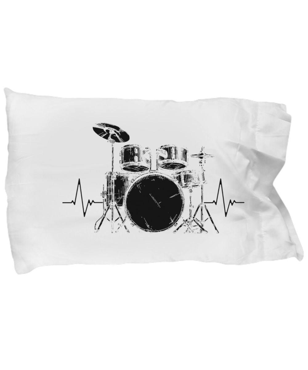 Funny Novelty Gift For Musician Drum Set Heartbeat Best Drummer, Drum Set, Drumming, Percussion Pillow Case: Gearbubble Campaign