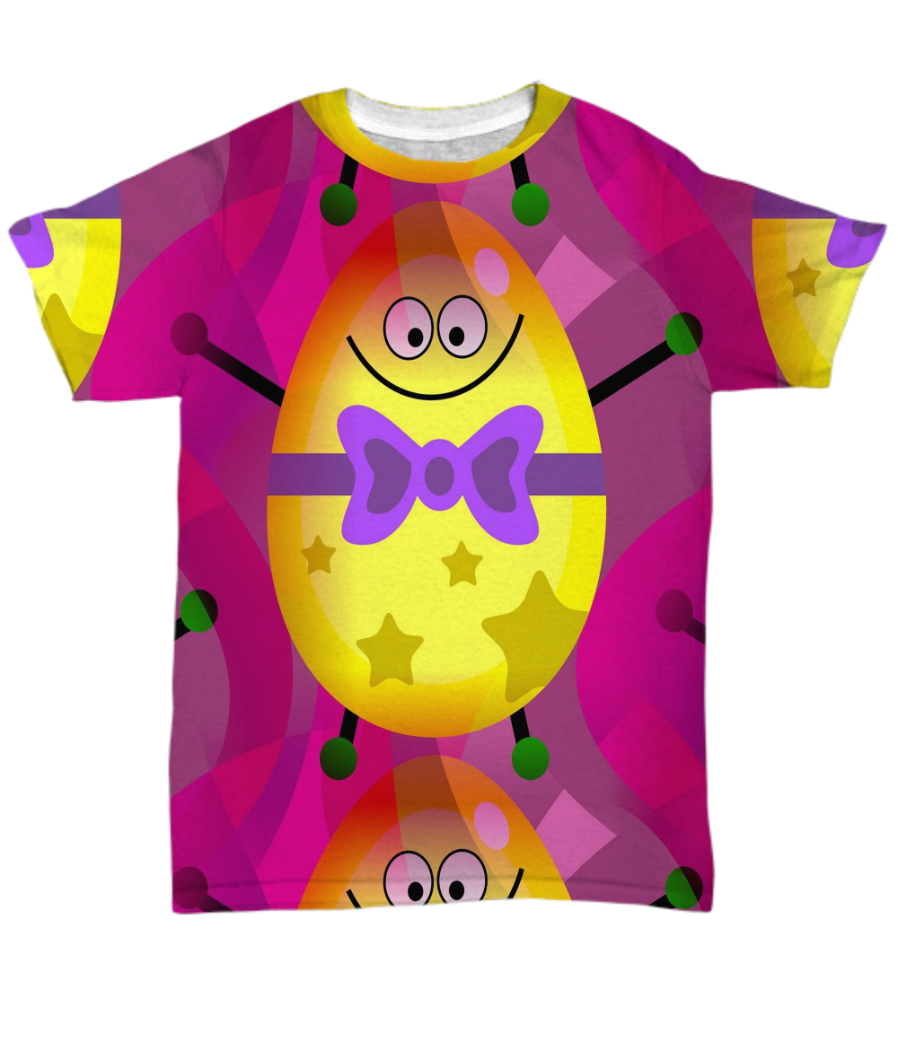 Mr Yellow Purple Colorful Happy Egg All Over Print T Shirt