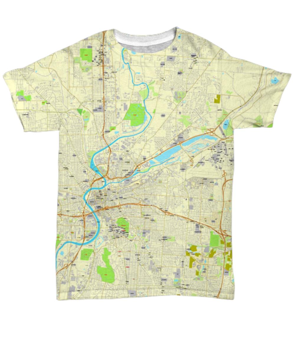 Dayton Ohio Map Crew Neck Unisex T Shirt