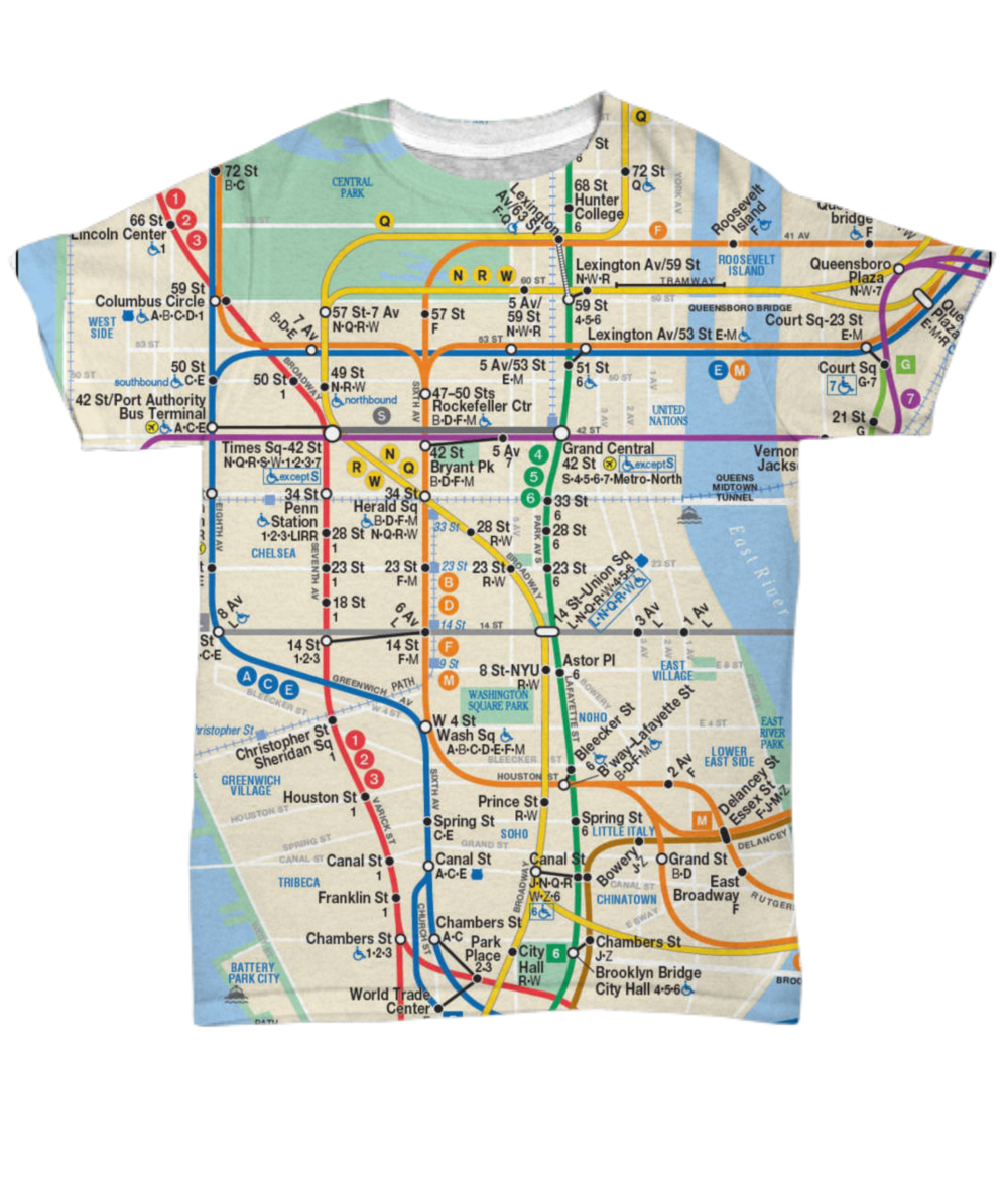 New York City Subway Map High Definition.New York City Subway Map Crew Neck Unisex T Shirt