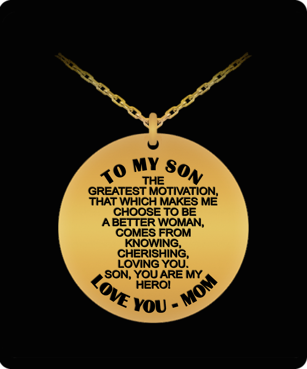 To my son, my hero - Love mom laser engraved pendant necklace