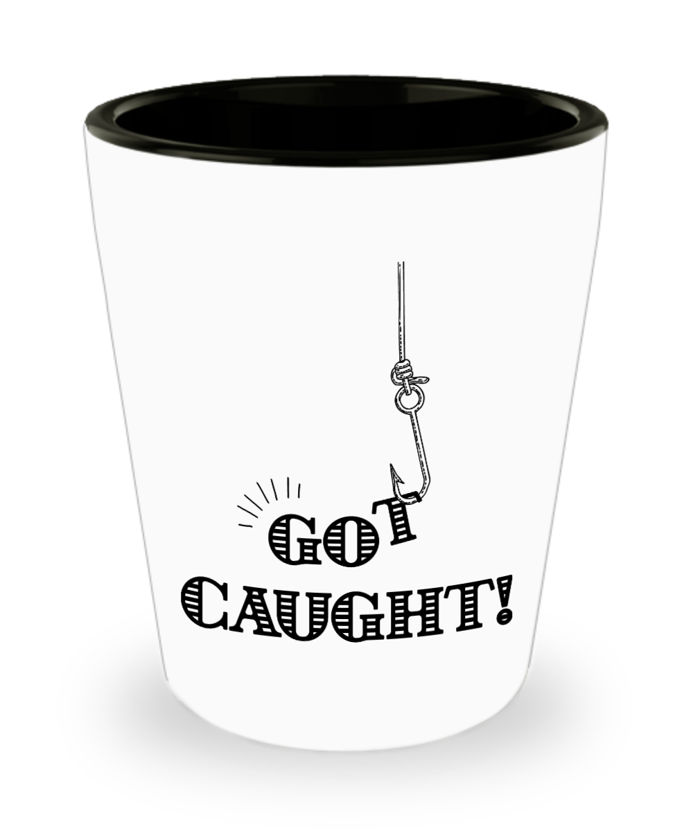 Funny Wedding Gifts For Groom: Funny Shot Glasses For Weddings- Got Caught!