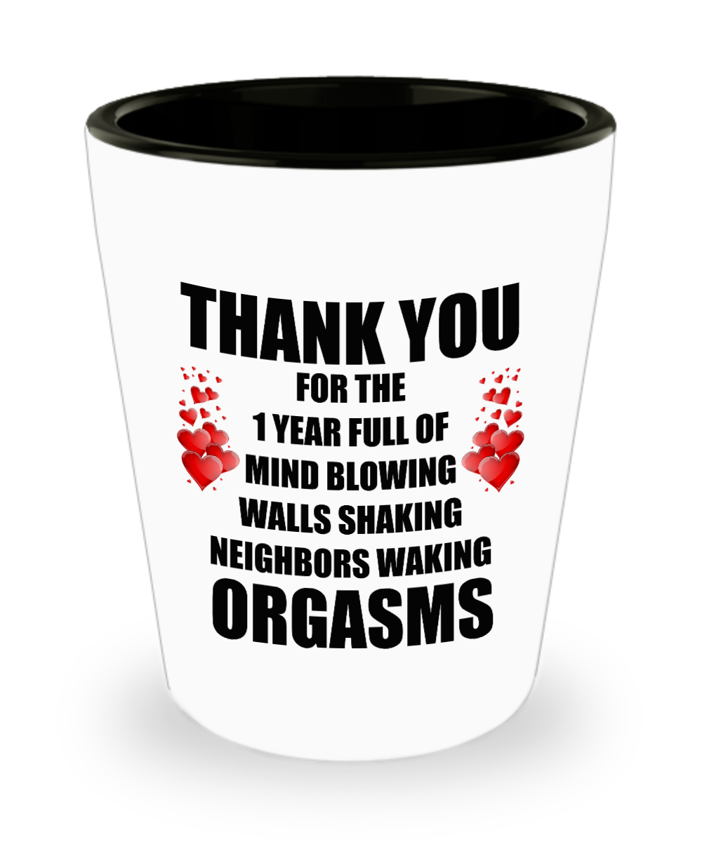 1 Year Anniversary Gifts For Him Her 1st Year Funny Sexy Gifts For Her Him Wife Husband Girlfriend Boyfriend Men Women Couples Lover Partner 1 5 Oz Shot Glass