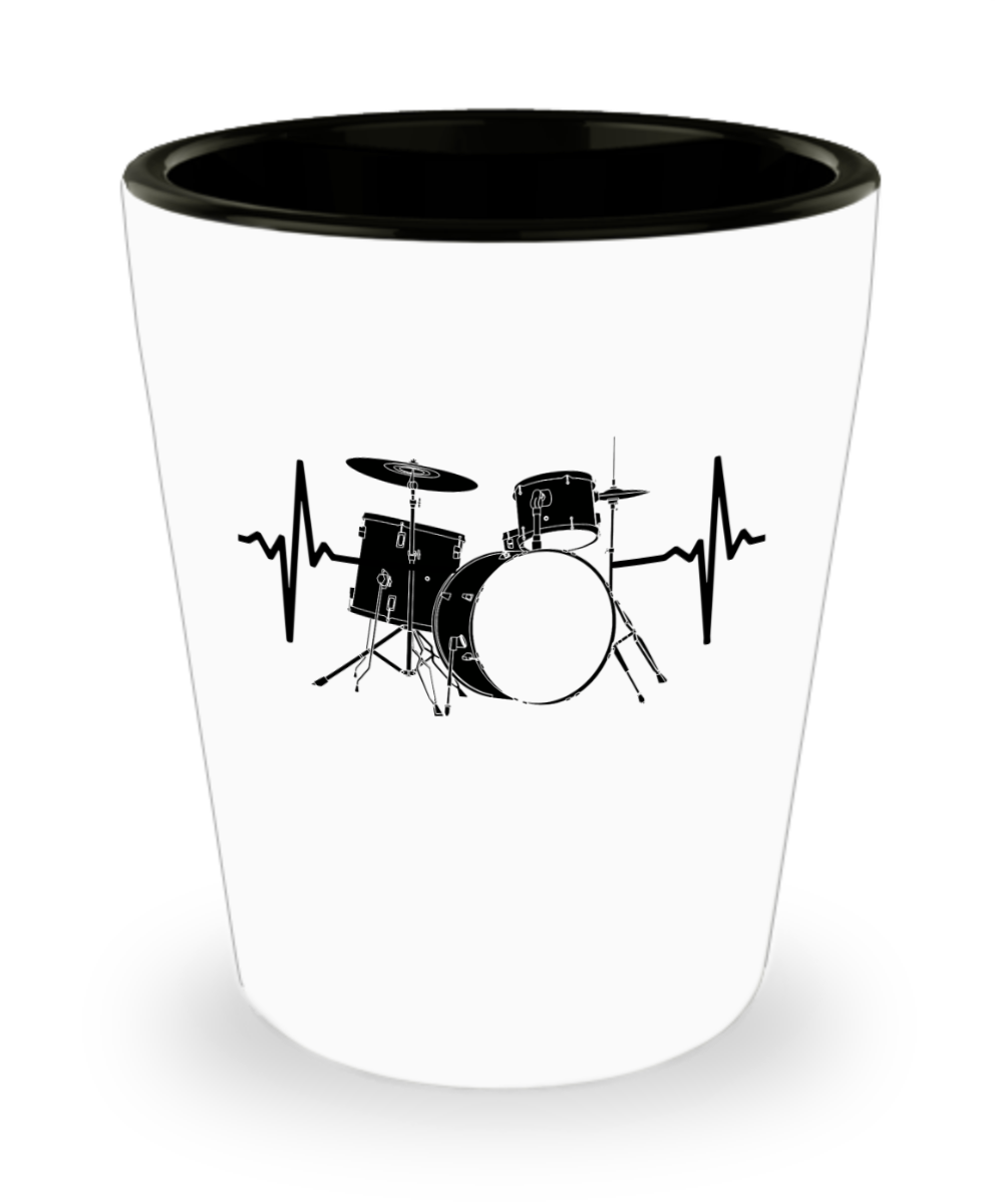 Funny Novelty Gift For Drummer Drums Heartbeat Best Drums, Drum Set, Percussion Shot Glass: Gearbubble Campaign