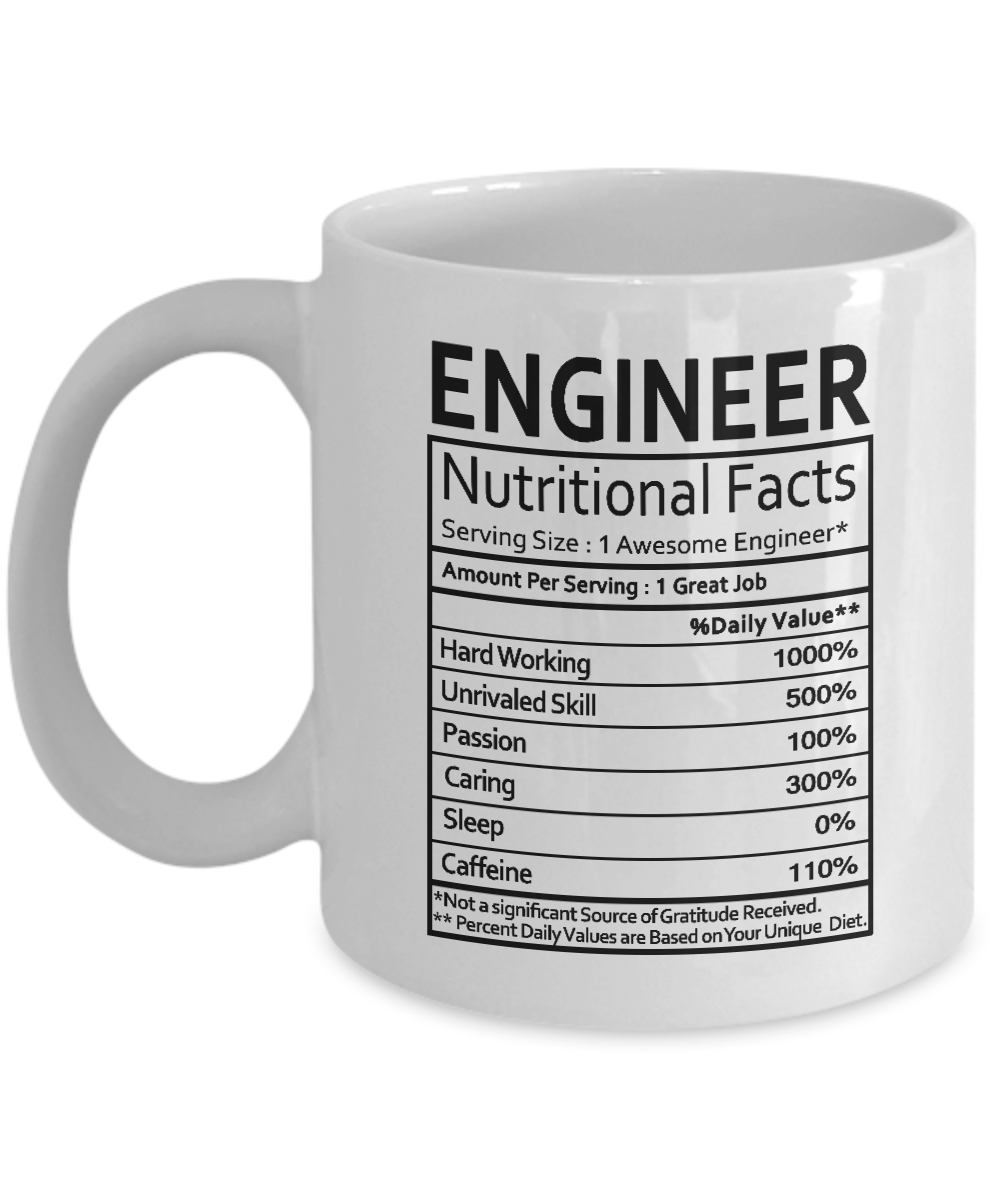 Engineer Gifts Engineer Nutritional Facts Label Engineering Gag Gifts