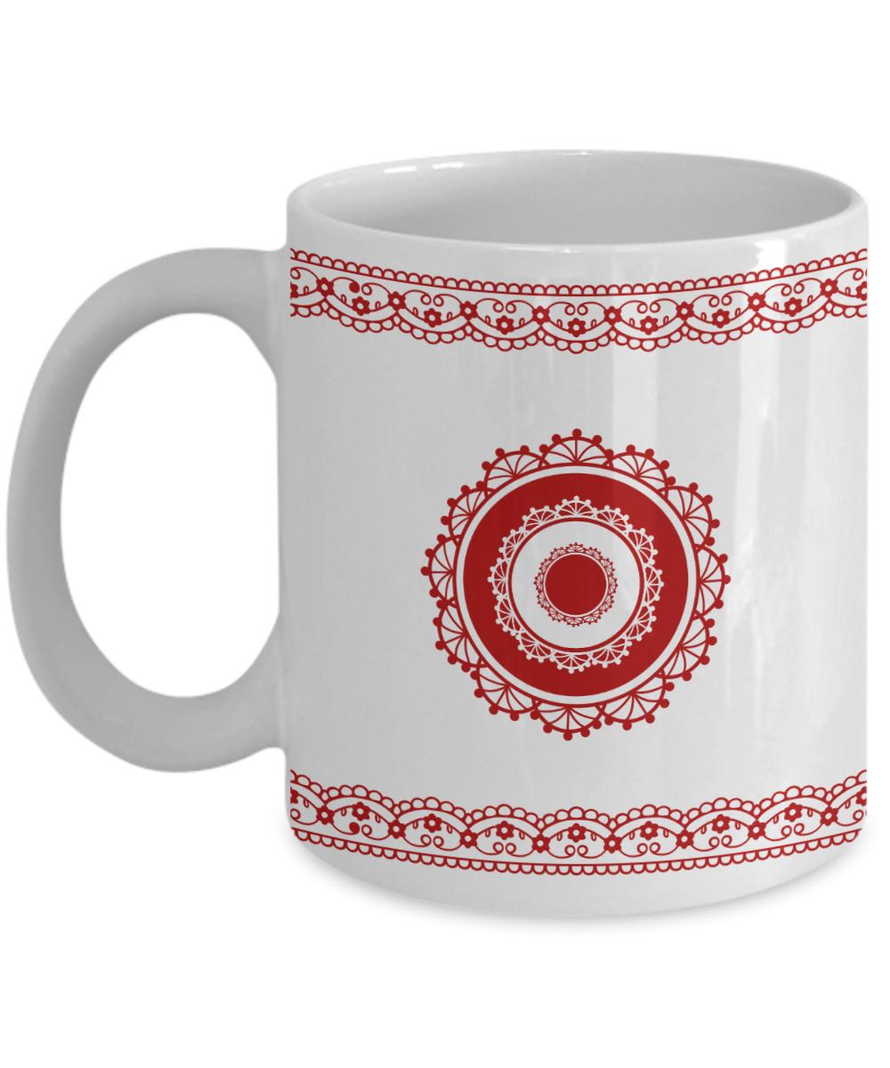 Coffee mug stunning red blue floral pattern border design for Blue mug designs