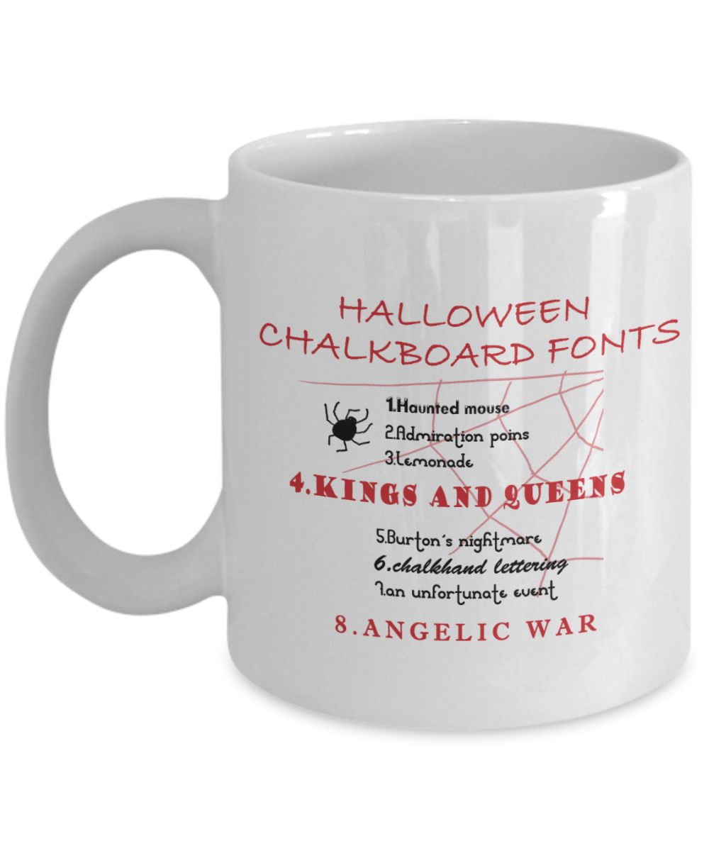 Halloween Coffee Mug Halloween Chalkboard Gifts Ideas For Adults Women Kids In Party Eve With Jokes And Cupcakes White Ceramic 11 Oz Mugs