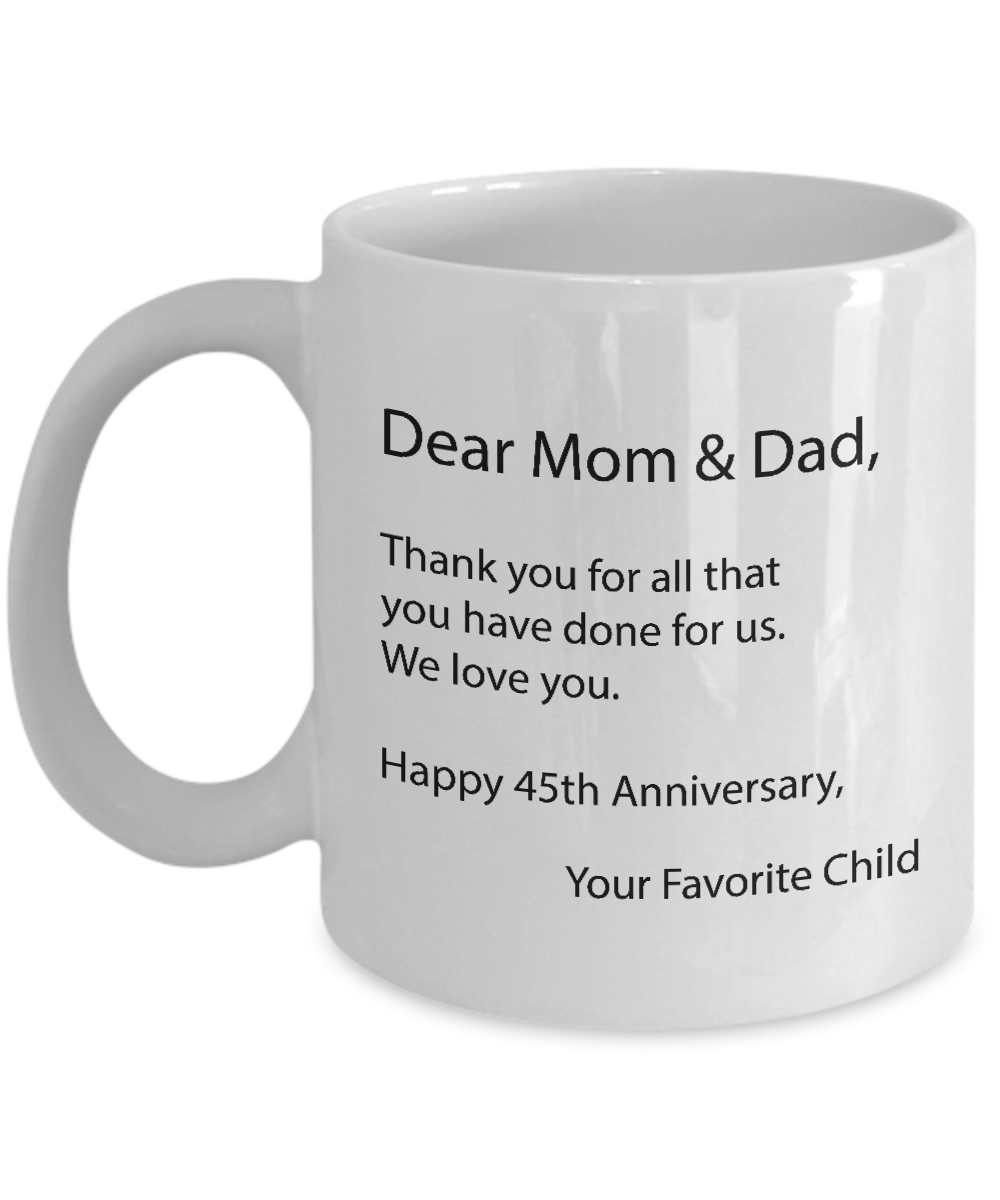 45th Anniversary Gifts For Parents 45 Wedding Anniversary Gift For