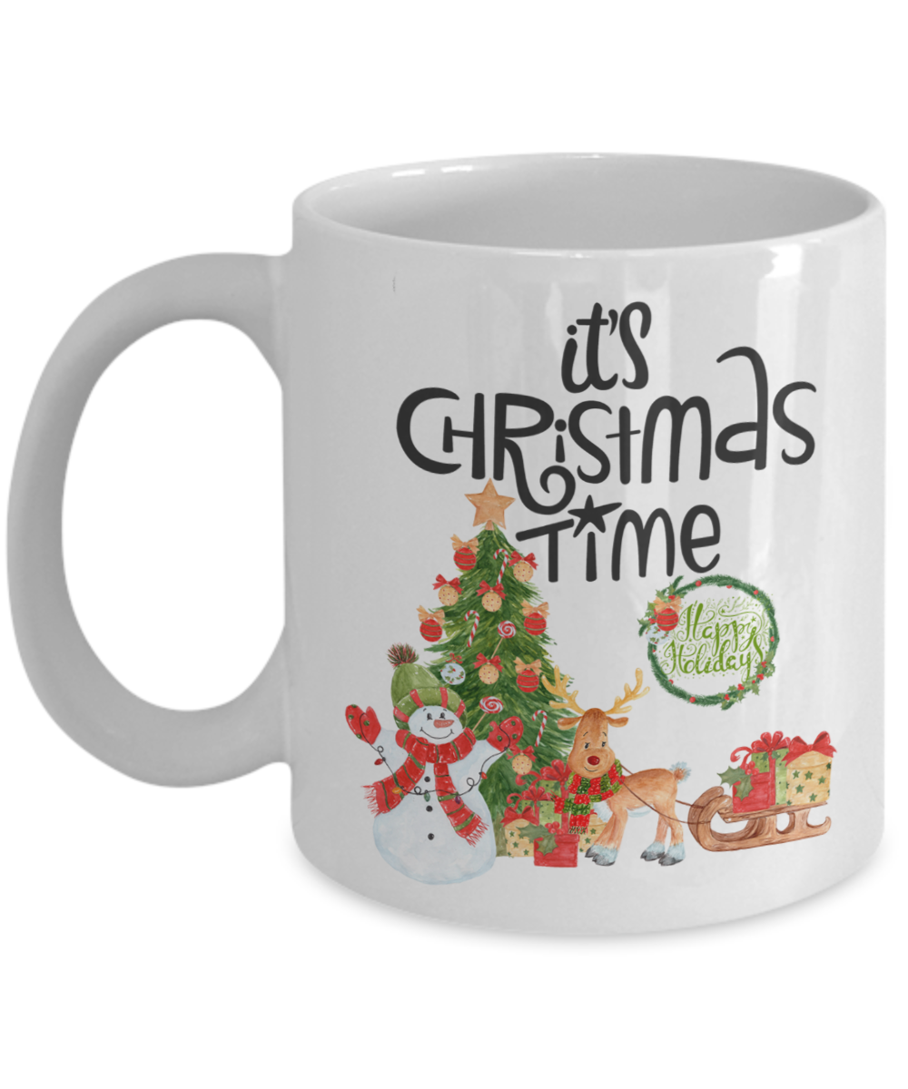 It's Christmas Time Snowman and Reindeer Christmas Coffee Mug