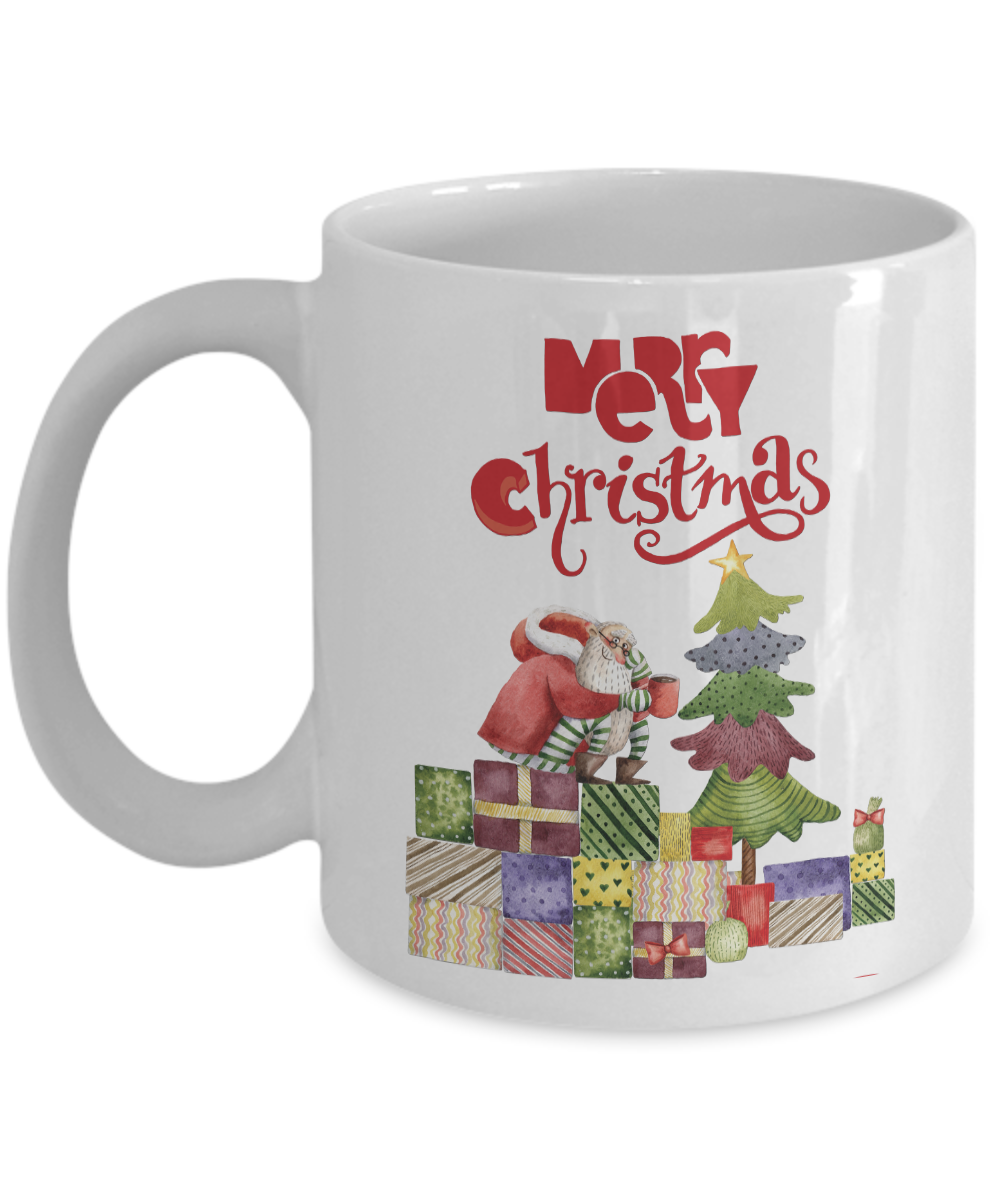 11 oz. Funny Christmas Santa Coffee Mug white