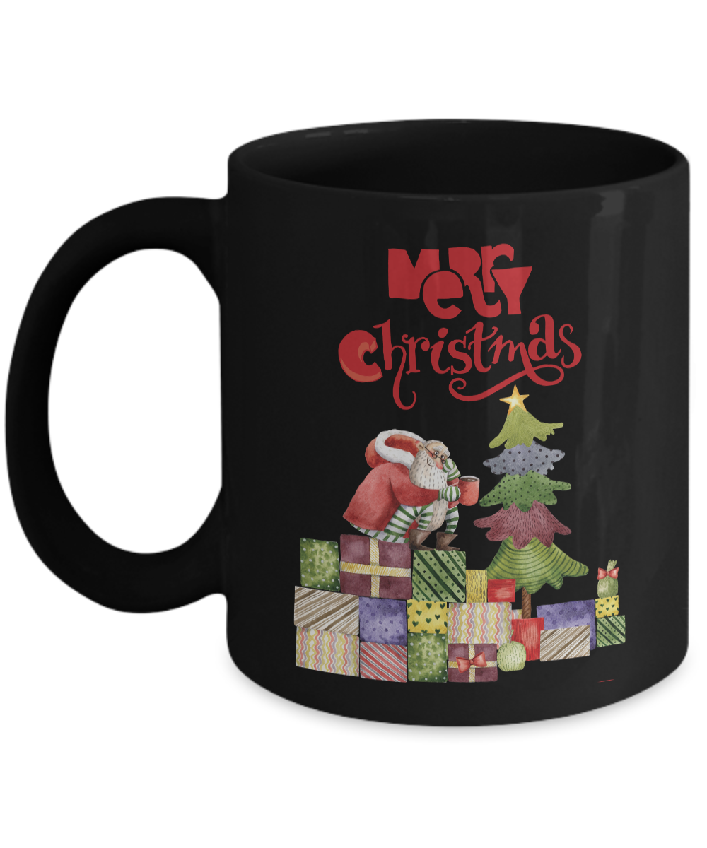 11oz. Funny Christmas Santa Coffee Mug Black