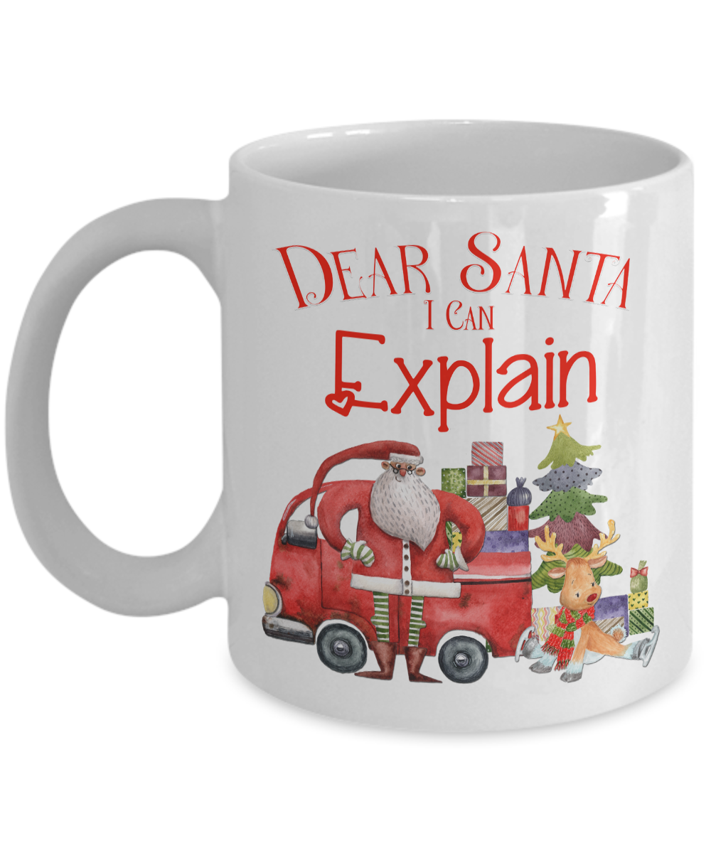 Dear Santa I Can Explain Christmas Coffee Mug / White