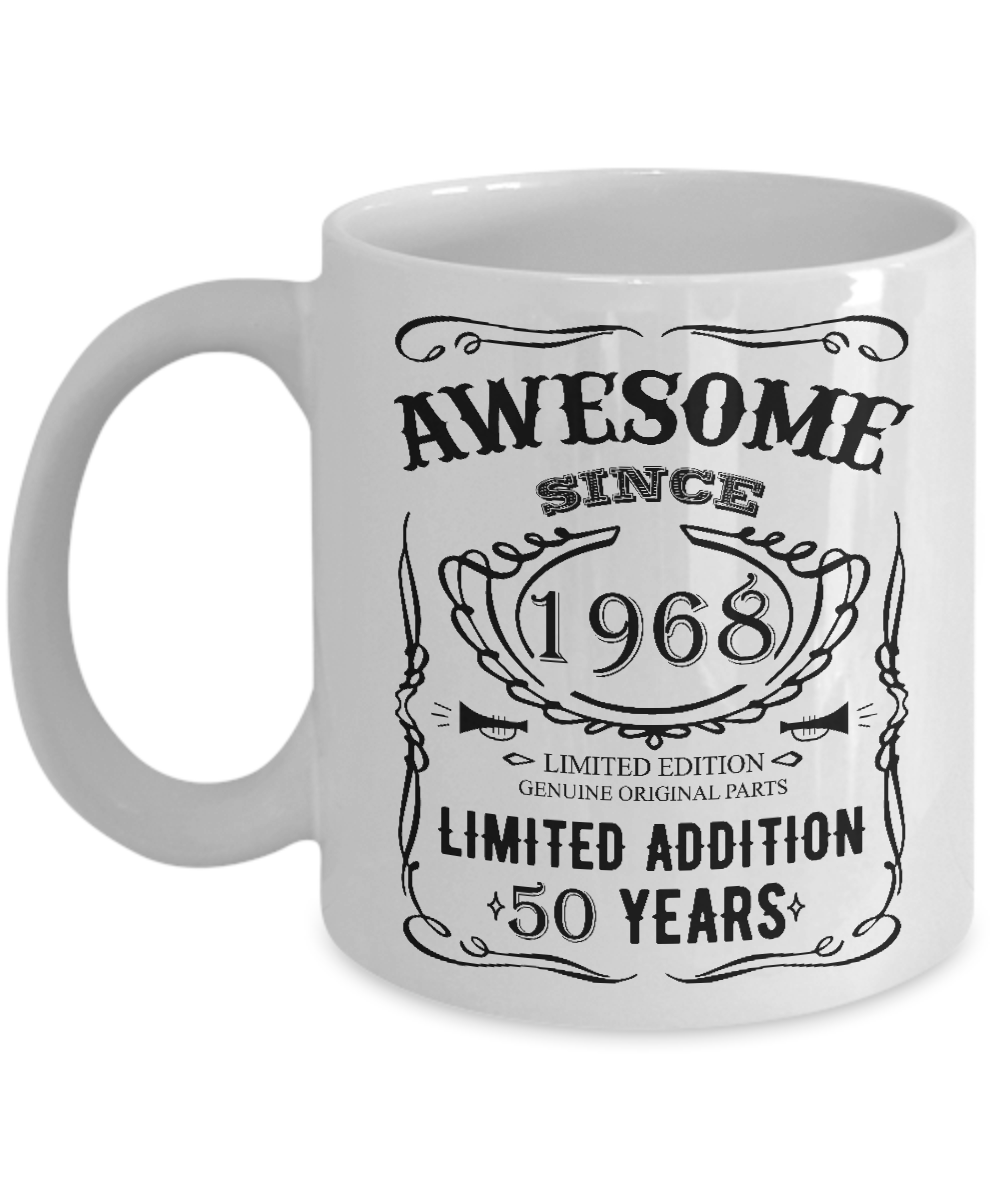 50 Birthday Mug Happy 50th Fifty Years Old 1968 Gift Idea