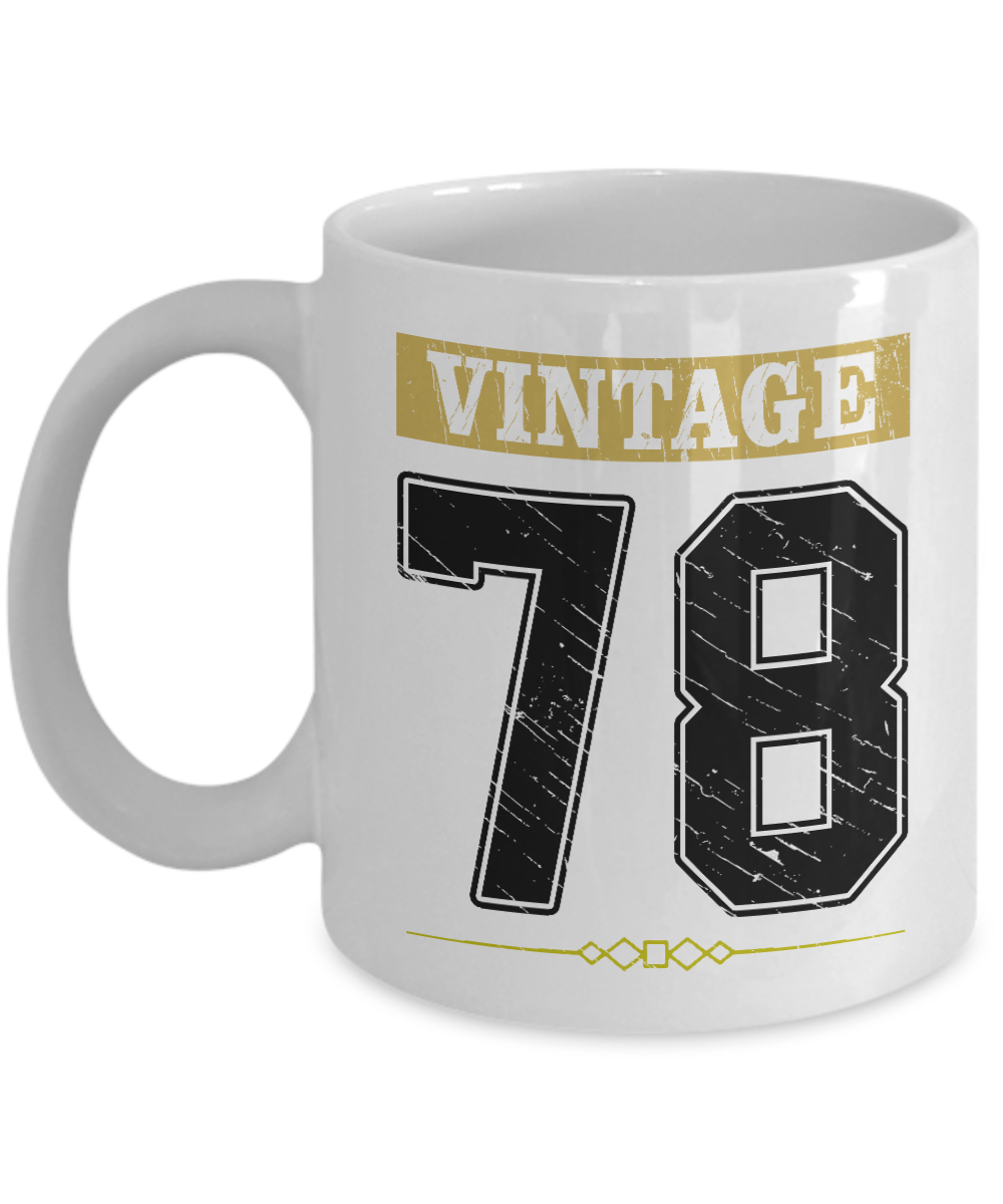 Vintage 78 Cup Mug Birthday Gifts For Women Decorations 40th Funny Men Gift 40 Years Old