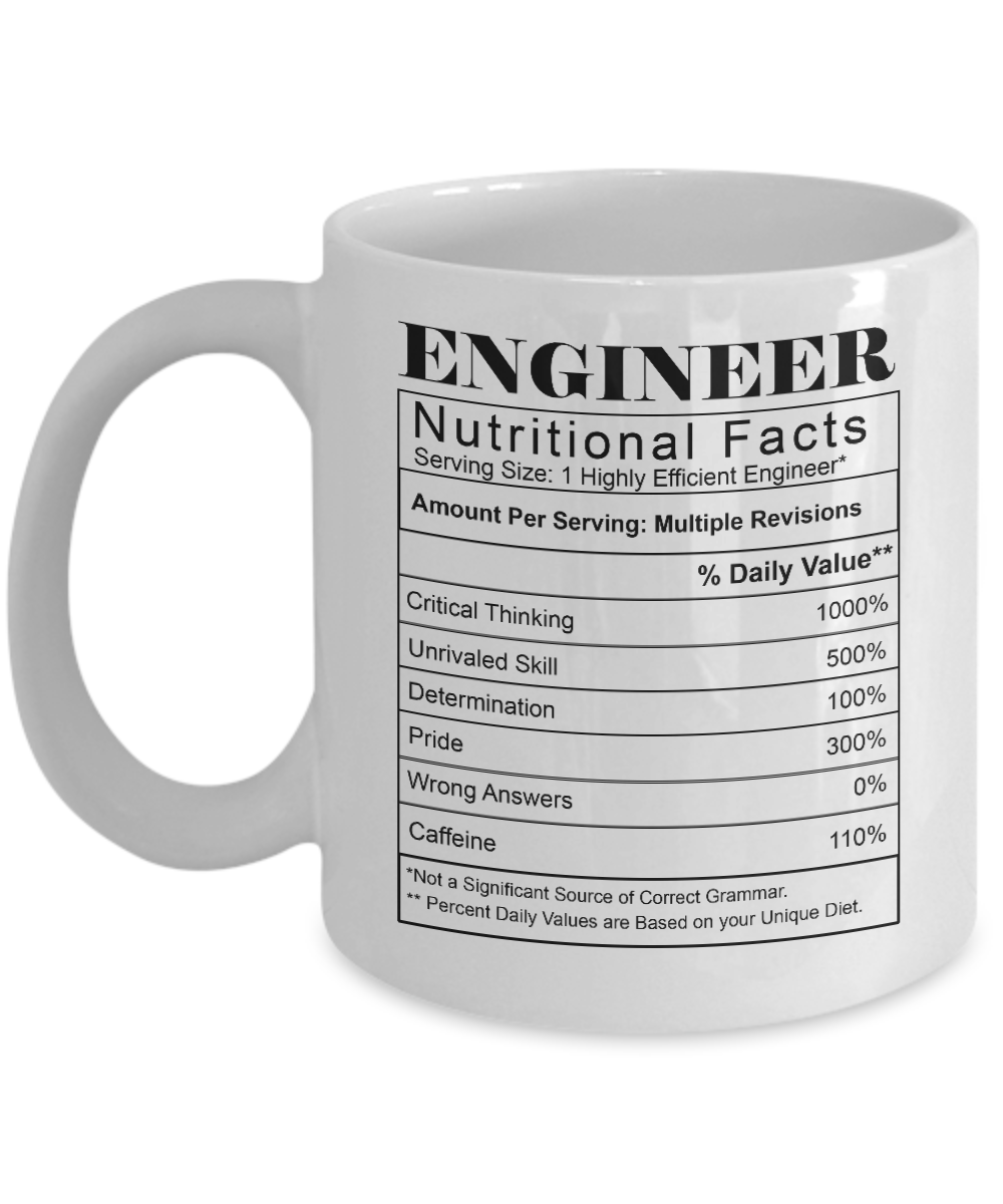gift ideas for engineers - nutritional facts engineer coffee mug