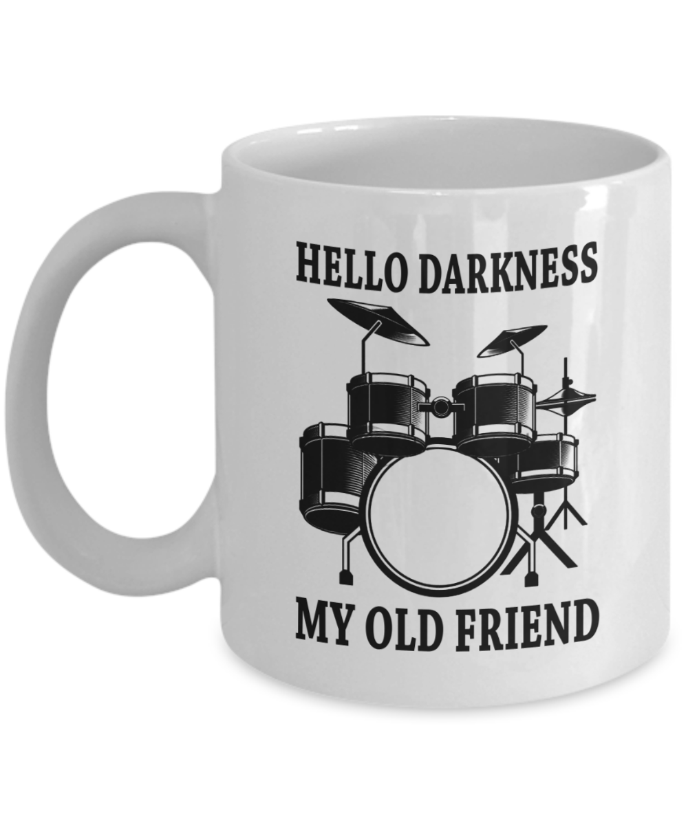 Drum Hello darkness my old friend ceramic coffee mug cup-funny gifts for drummer-drum gifts idea for teen boys men-drum mug-drum cup-drum mugs cups: ...