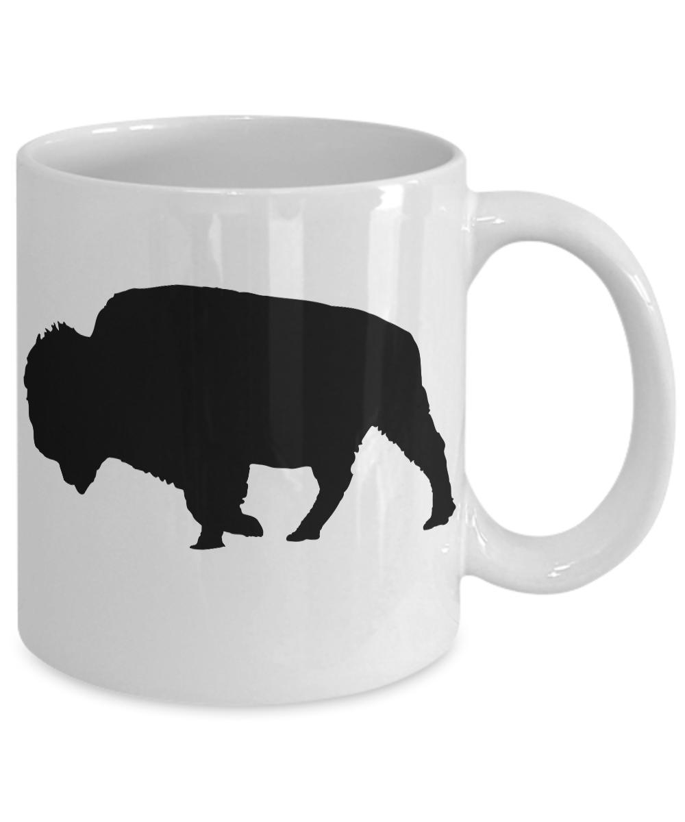 Bison-Mug-Buffalo-White-Coffee-Cup-Gift-for-Hunting-Farmer-Rancher-Yellowstone miniature 3