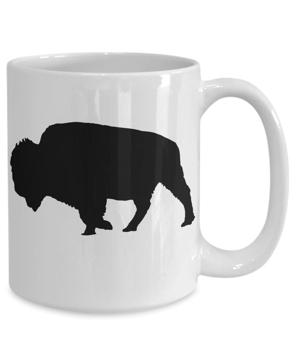 Bison-Mug-Buffalo-White-Coffee-Cup-Gift-for-Hunting-Farmer-Rancher-Yellowstone miniature 5