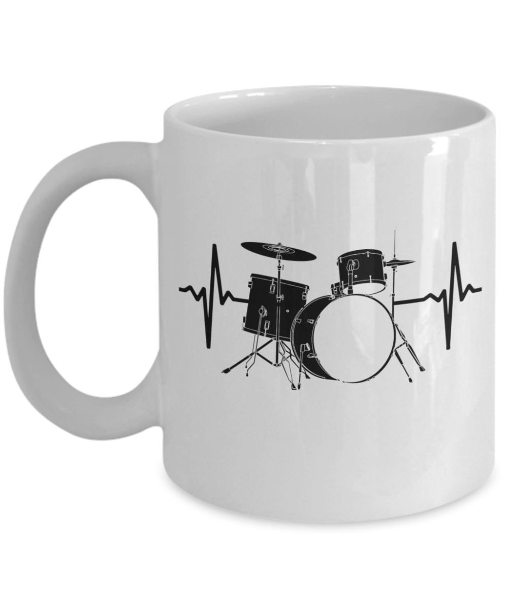Funny Novelty Gift For Drummer Drums Heartbeat Best Drums, Drum Set, Percussion Coffee Mug 11 or 15 Oz: Gearbubble Campaign