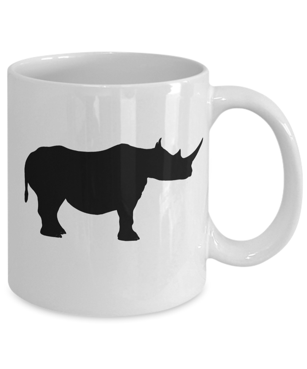 miniature 3 - Rhino Mug White Coffee Cup Funny Gift for Animal Lover Zoo African Safari Horn