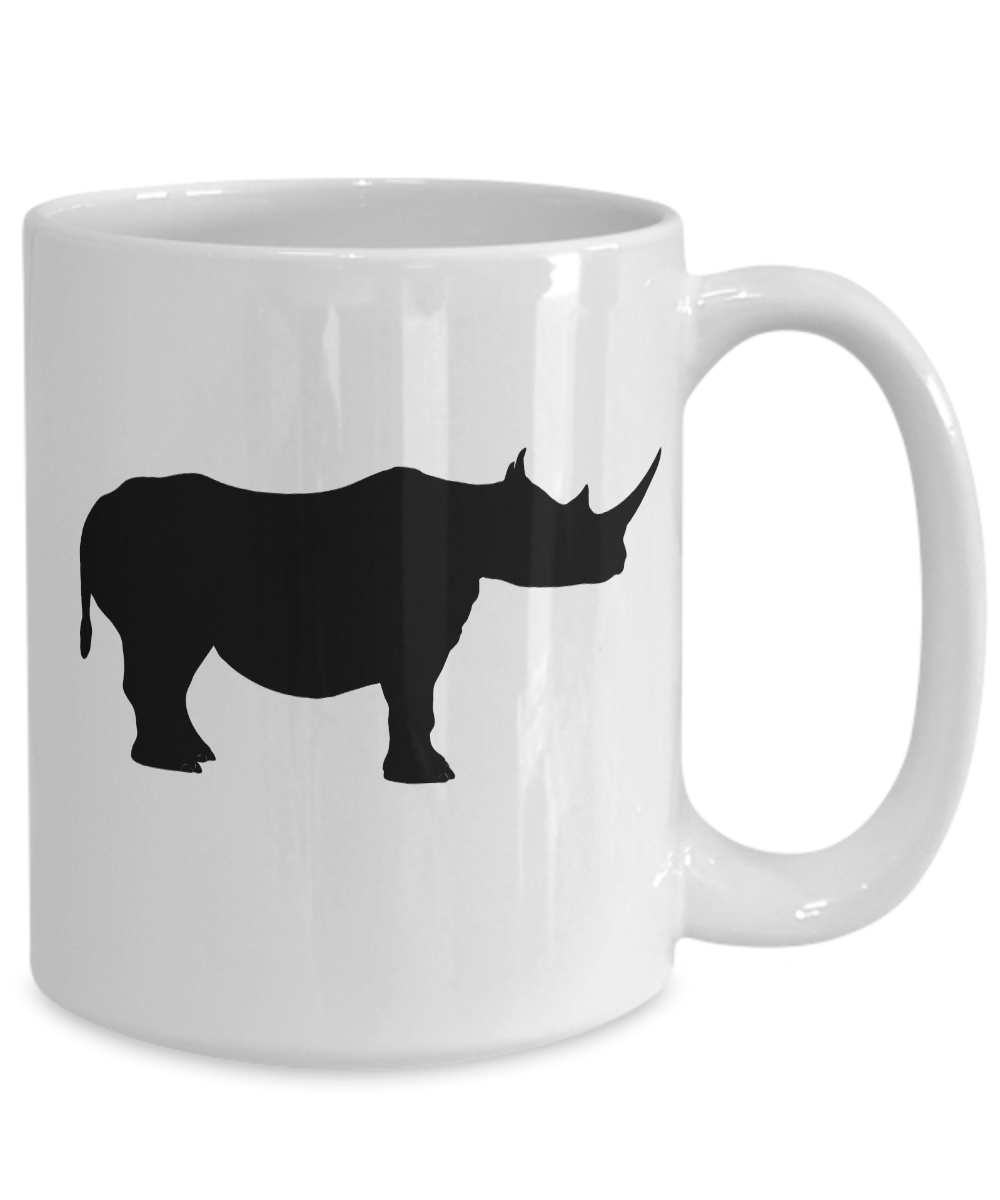 miniature 5 - Rhino Mug White Coffee Cup Funny Gift for Animal Lover Zoo African Safari Horn