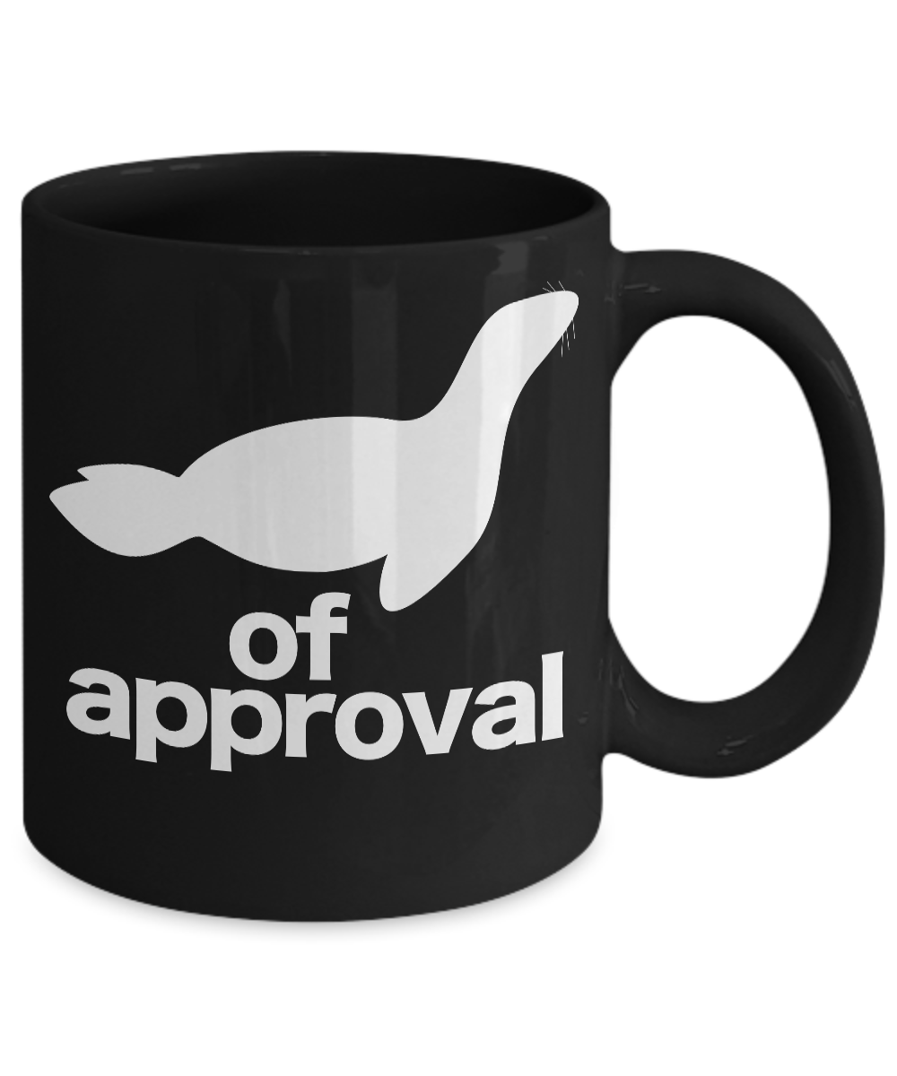 miniature 3 - Seal-of-Approval-Mug-Black-Animal-Coffee-Cup-Funny-Gift-for-Teacher-Professor