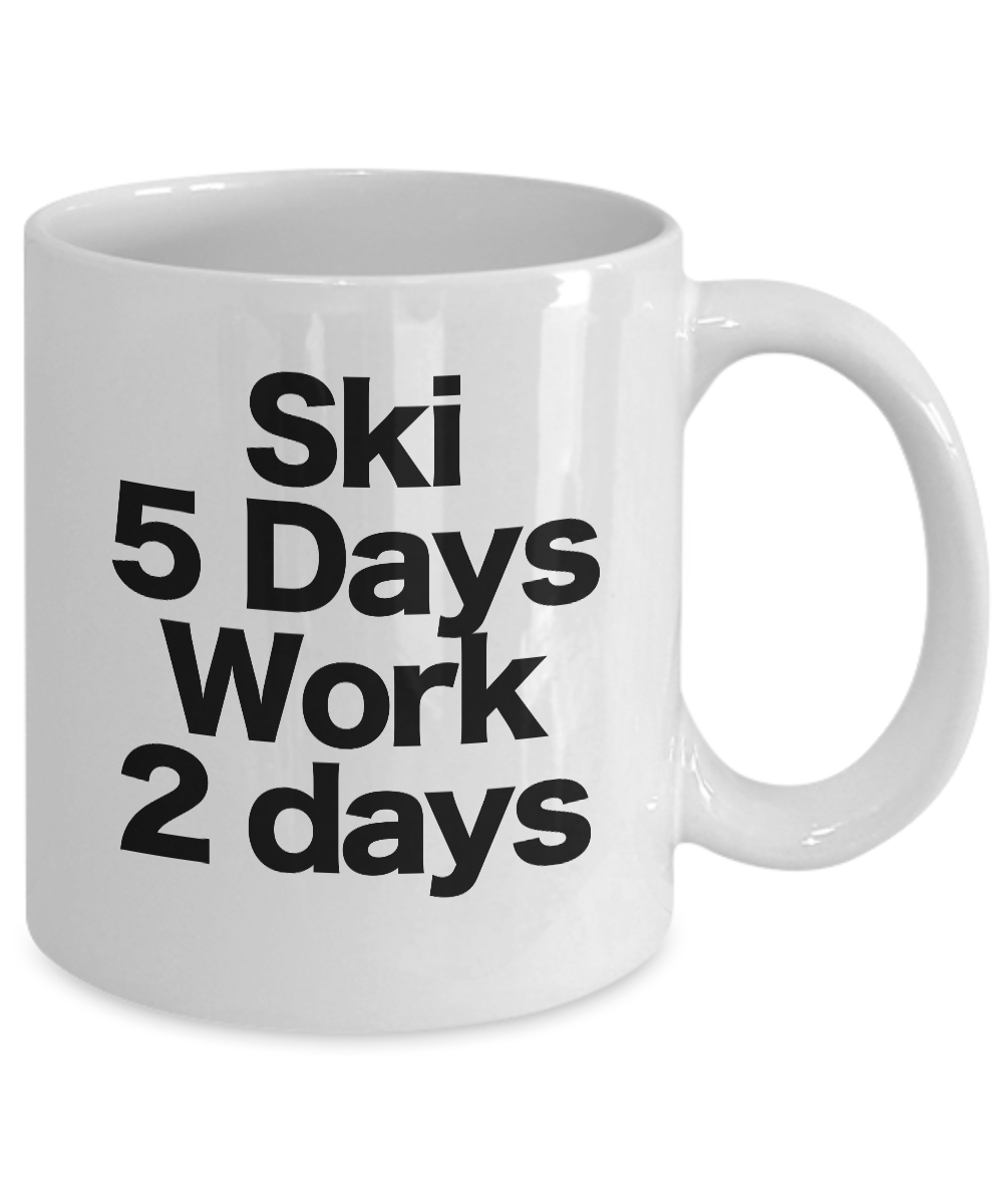 Ski-Mug-White-Coffee-Cup-Funny-Gift-for-Water-Skier-Downhill-Skier-Cross-Country miniature 3