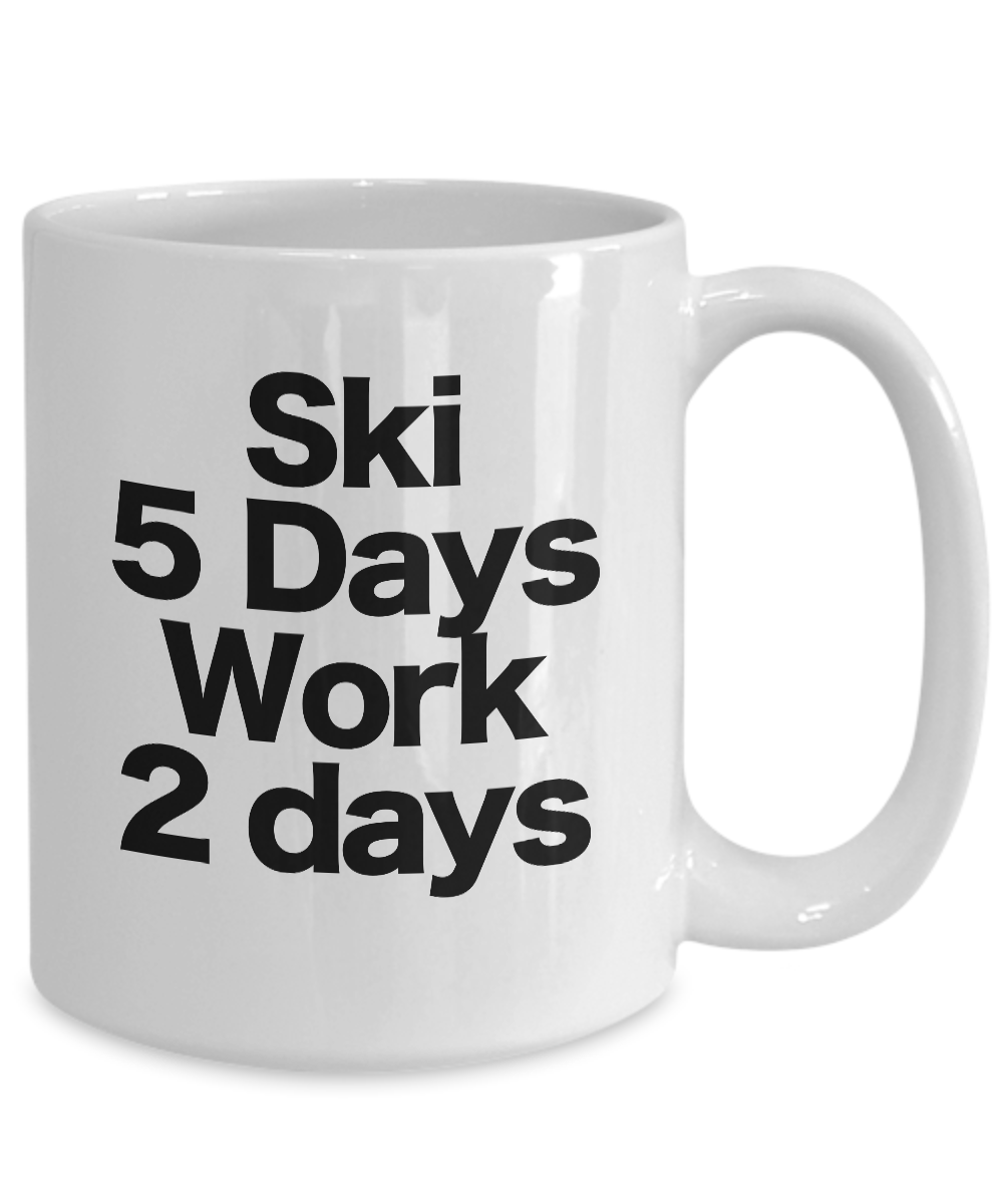 miniature 5 - Ski Mug White Coffee Cup Funny Gift for Water Skier Downhill Skier Cross Country