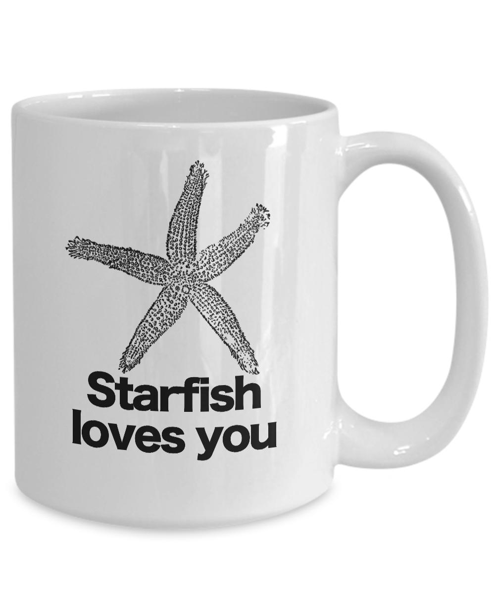 miniature 5 - Starfish Loves You Mug White Coffee Cup Funny Gift Charlie the Unicorn Adventure