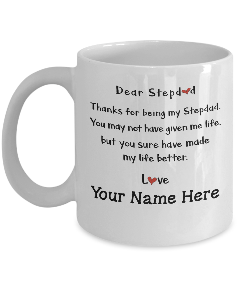 Bonus Dad Dear Step Father Custom Mug For To My Birthday Gift Perfect