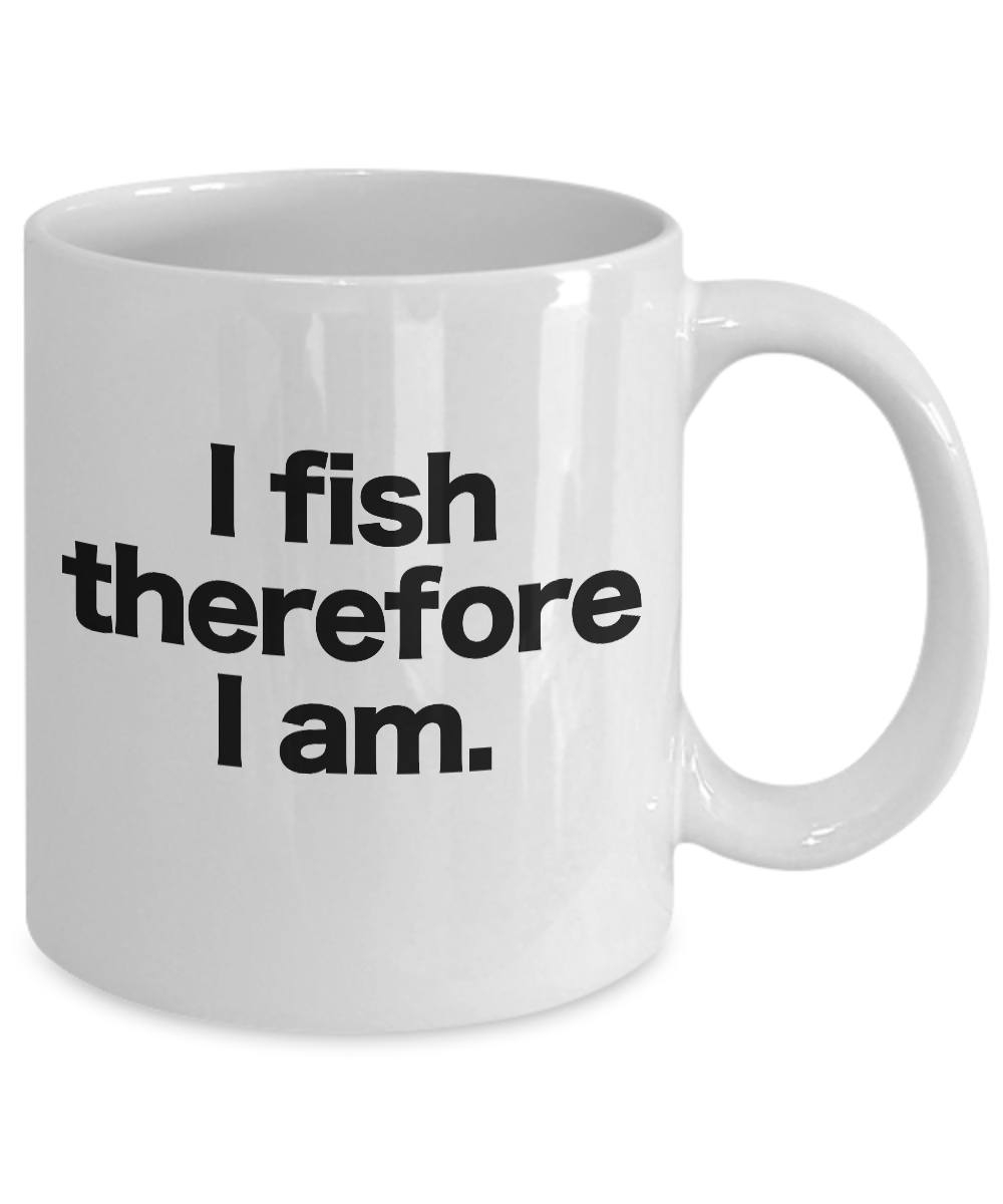 Fish-Mug-White-Coffee-Cup-Funny-Gift-for-Angler-Fisherman-I-fish-therefore-I-am miniature 3