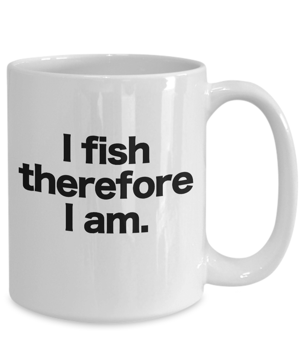 Fish-Mug-White-Coffee-Cup-Funny-Gift-for-Angler-Fisherman-I-fish-therefore-I-am miniature 5