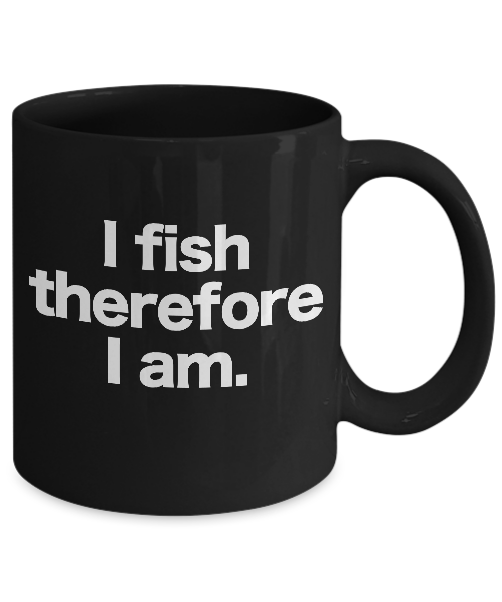 Fish-Mug-Black-Coffee-Cup-Funny-Gift-for-Angler-Fisherman-I-Fish-Therefore-I-Am miniature 3