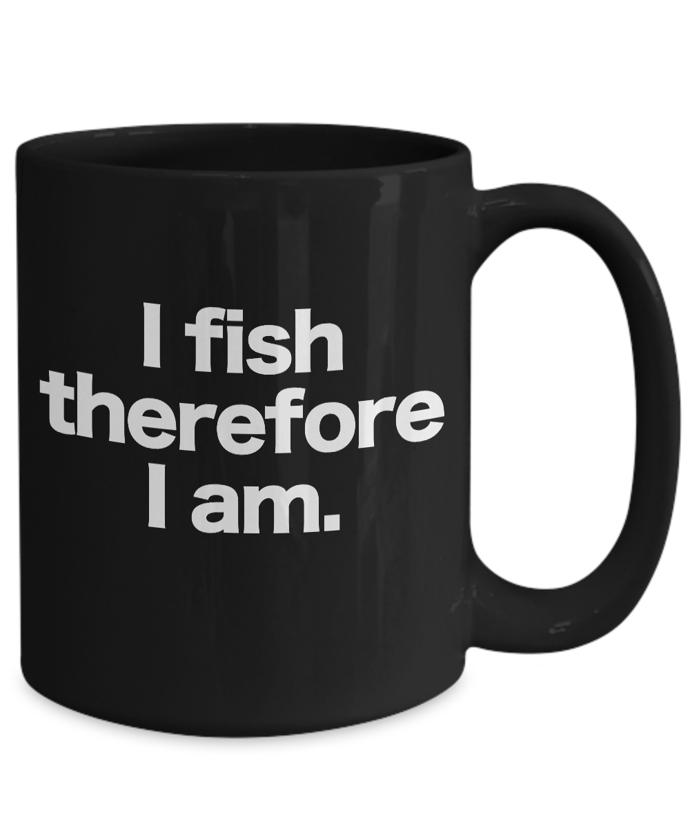 Fish-Mug-Black-Coffee-Cup-Funny-Gift-for-Angler-Fisherman-I-Fish-Therefore-I-Am miniature 5
