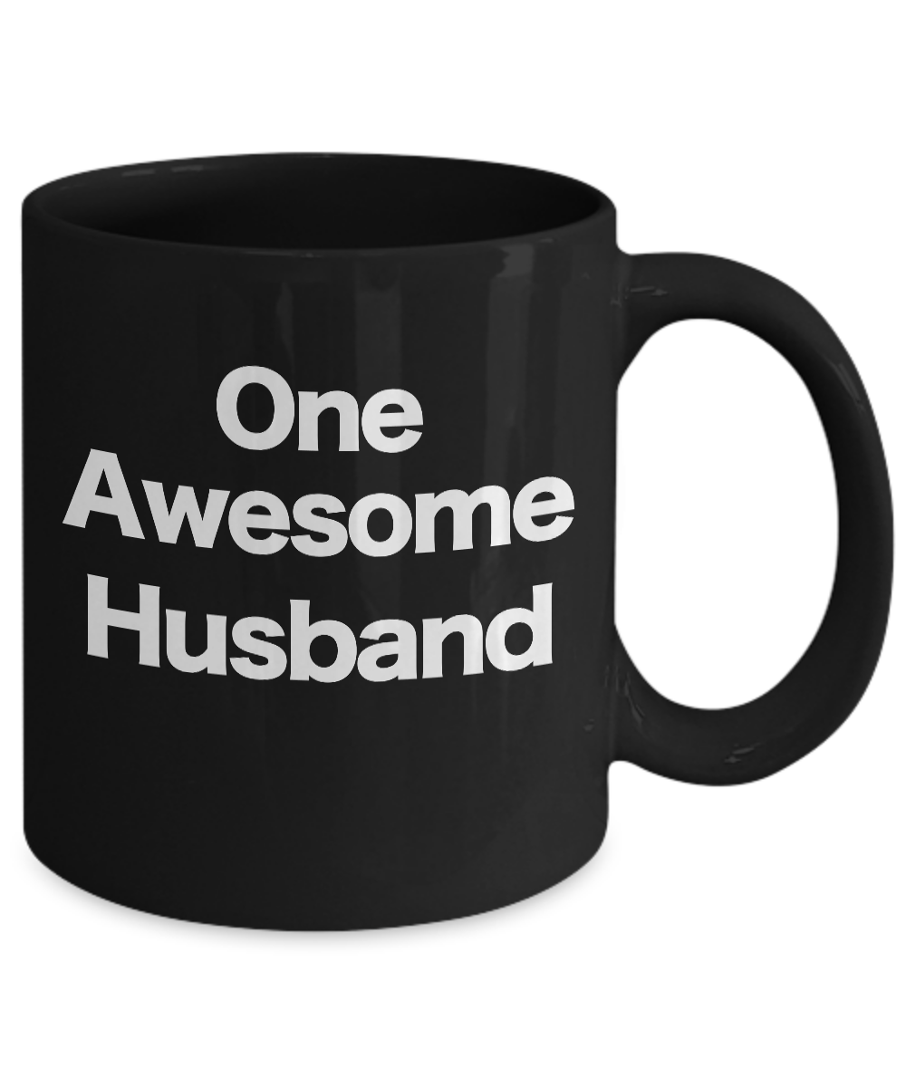 One-Awesome-Husband-Mug-Black-Coffee-Cup-Funny-Gift-for-Dad-Partner-Lover miniature 3