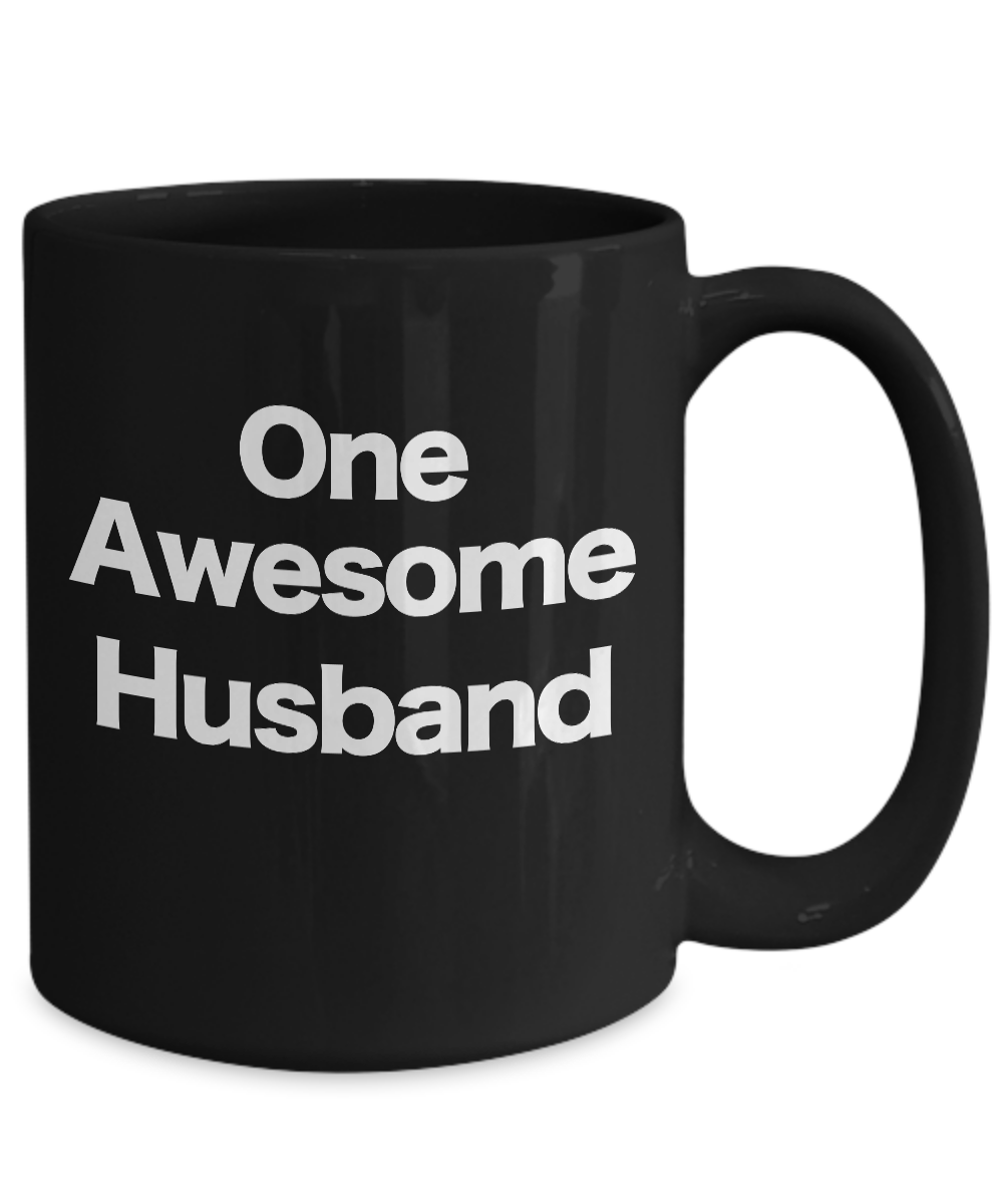 One-Awesome-Husband-Mug-Black-Coffee-Cup-Funny-Gift-for-Dad-Partner-Lover miniature 5