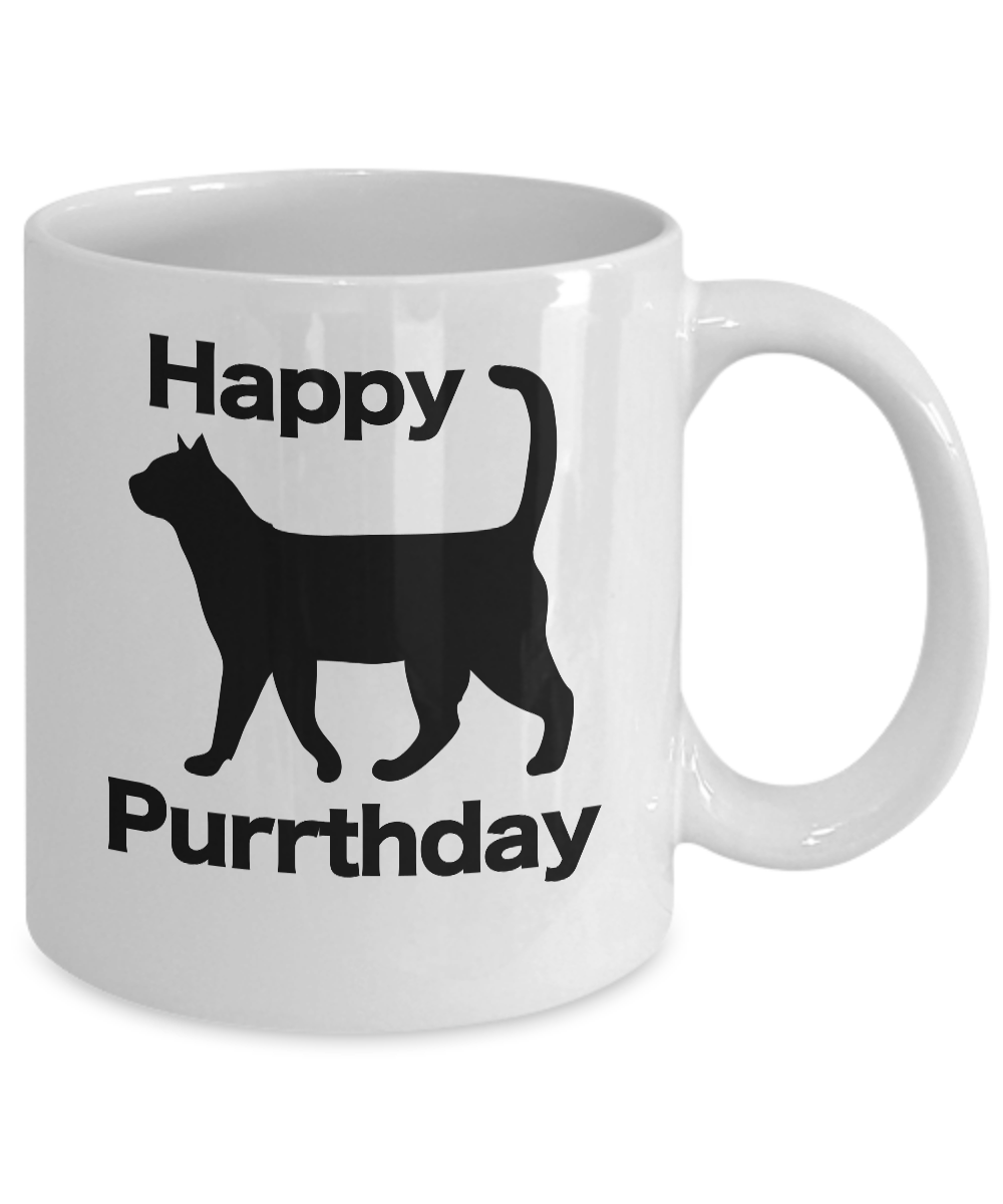 miniature 3 - Happy Purrthday Mug White Coffee Cup Funny Gift for Cat Lover Mom Dad Owner Birt