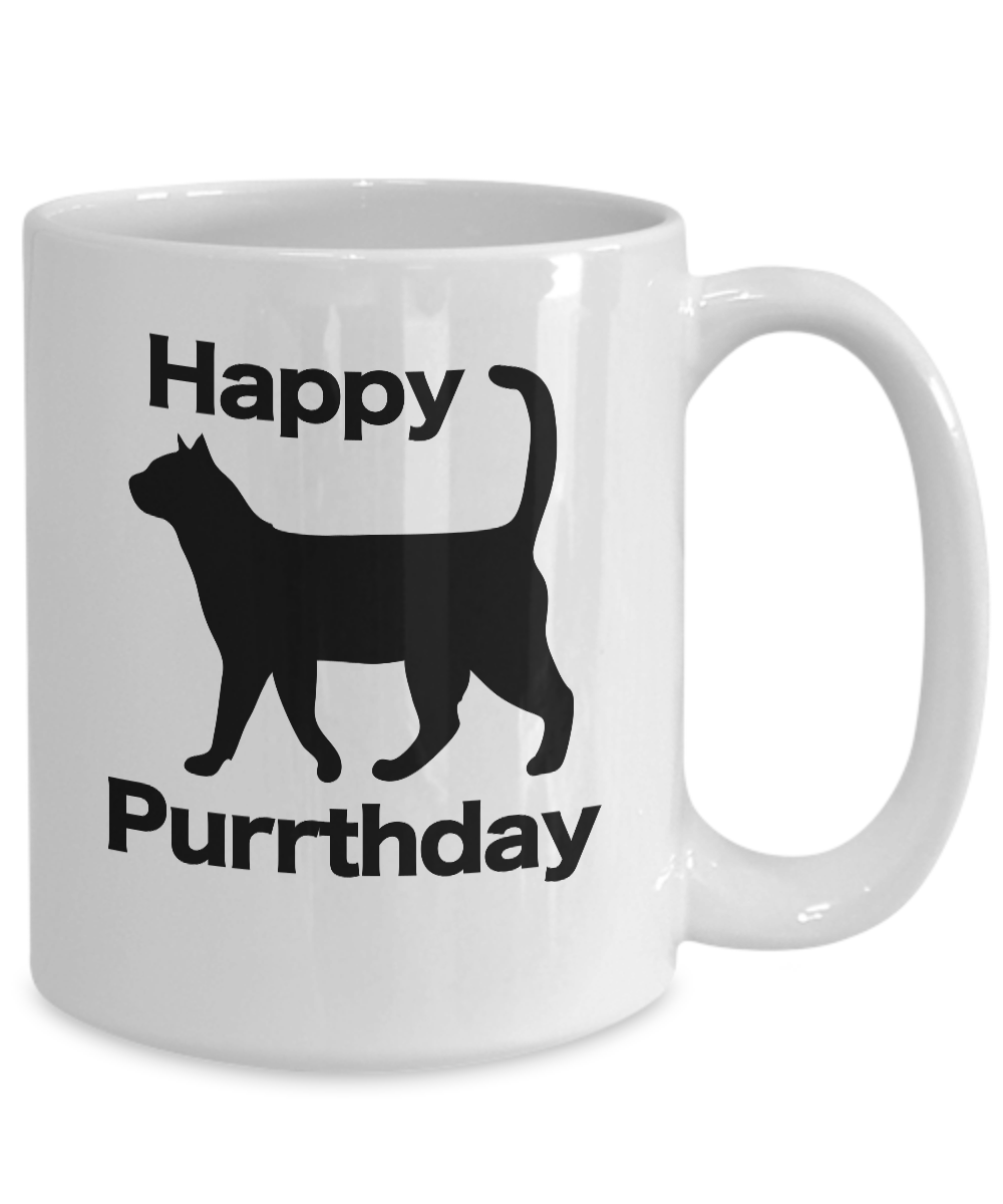 miniature 5 - Happy Purrthday Mug White Coffee Cup Funny Gift for Cat Lover Mom Dad Owner Birt