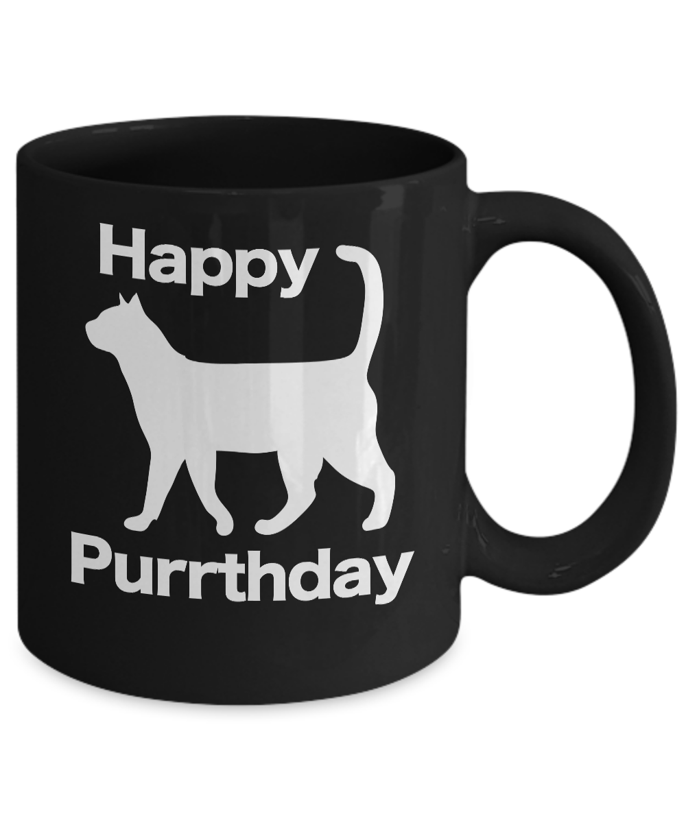 miniature 3 - Happy Purrthday Mug Black Coffee Cup Funny Gift Cat Lover Mom Dad Owner Birthday