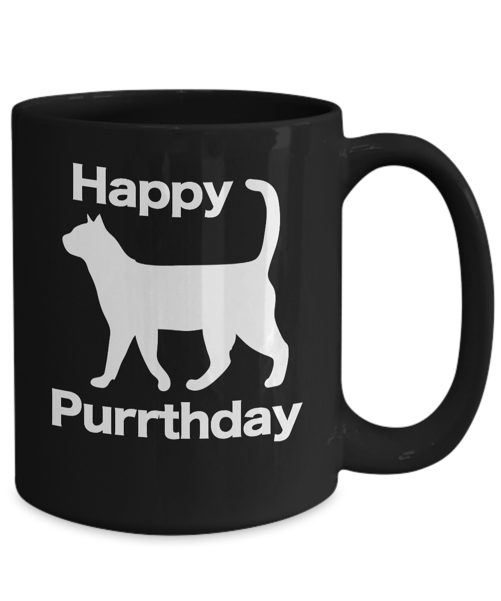 miniature 5 - Happy Purrthday Mug Black Coffee Cup Funny Gift Cat Lover Mom Dad Owner Birthday