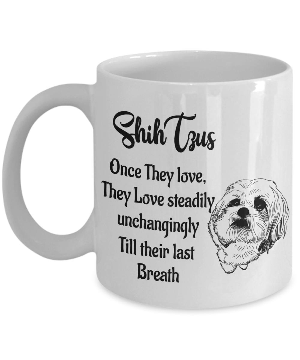 """ceramic cup Shih Tzu CA mug /""""I love/"""""""