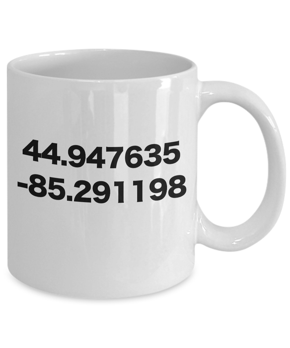 miniature 3 - Torch Lake Mug White Coffee Cup with GPS Coordinates Funny Gift for Michigan