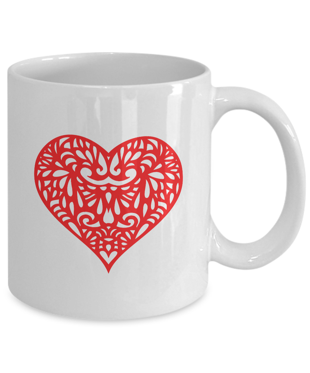 miniature 3 - Red Heart Mug White Coffee Cup Funny Gift for Lover Valentine Partner Wedding