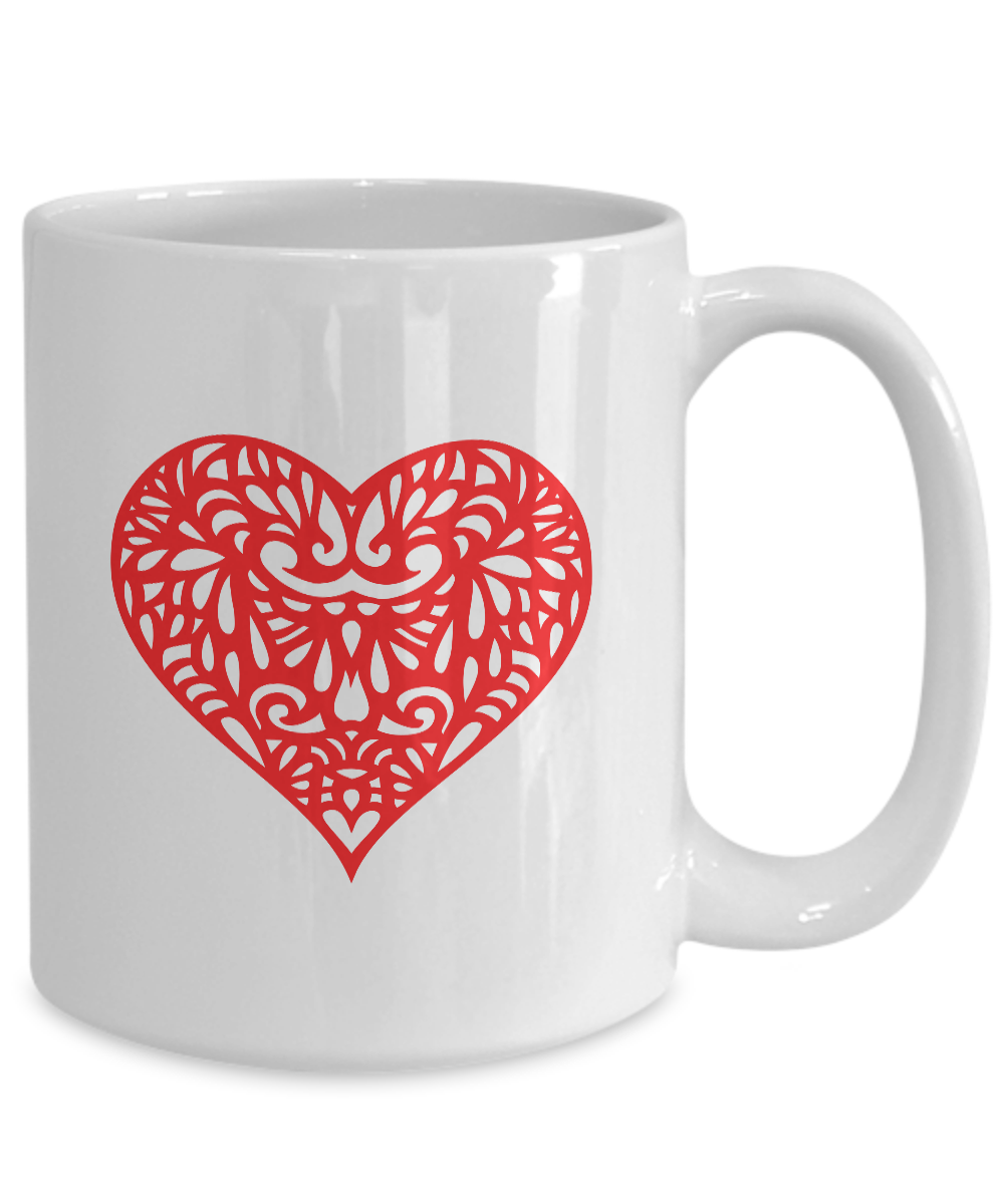 miniature 5 - Red Heart Mug White Coffee Cup Funny Gift for Lover Valentine Partner Wedding